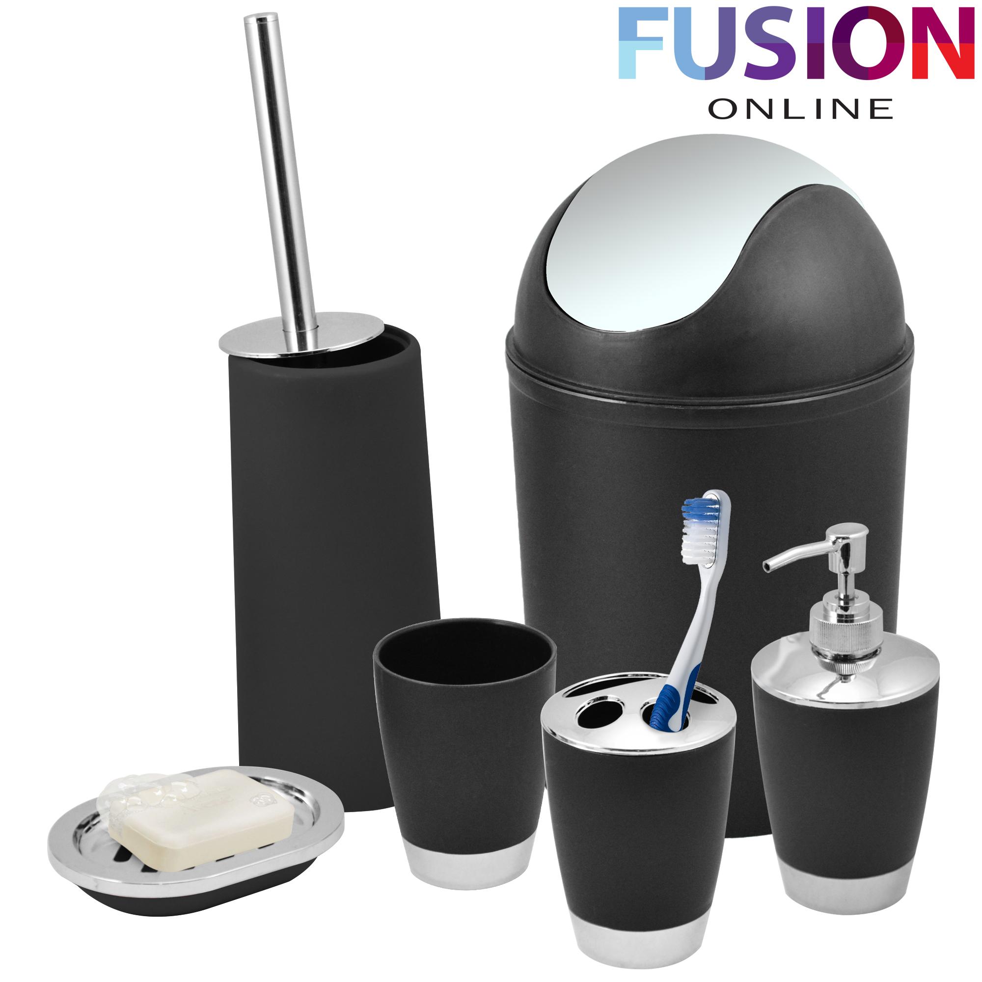 Bathroom set 6 piece accessory bin soap dish dispenser for Bathroom holder sets