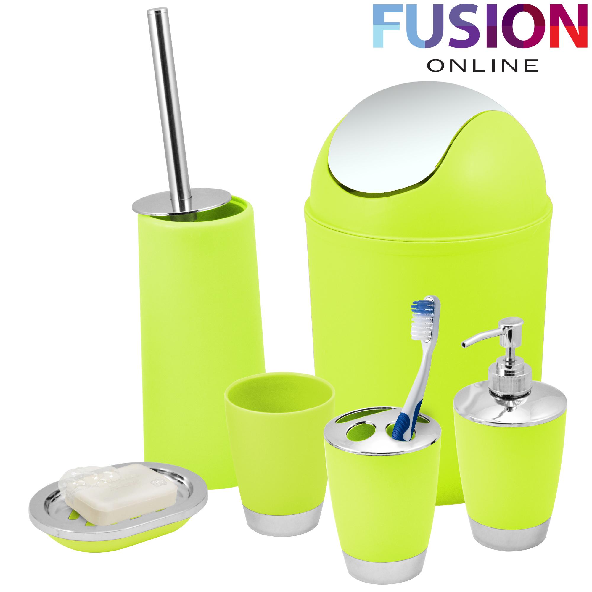 Bathroom set 6 piece accessory bin soap dish dispenser for Green bathroom bin