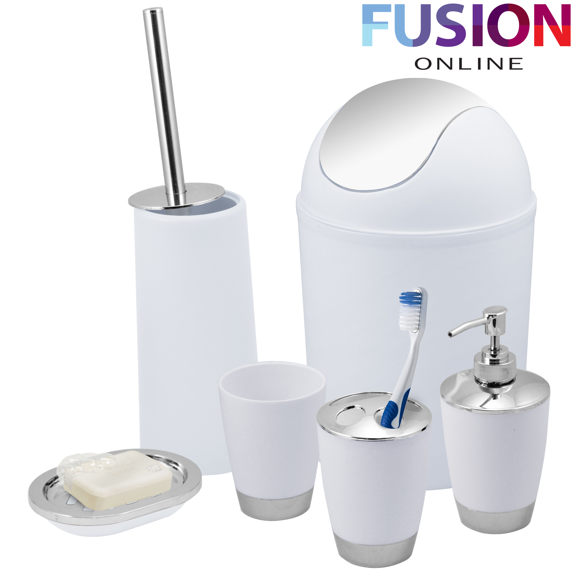 Bathroom set 6 piece accessory bin soap dish dispenser tumbler toothbrush holder ebay - Bathroom soap dish sets ...