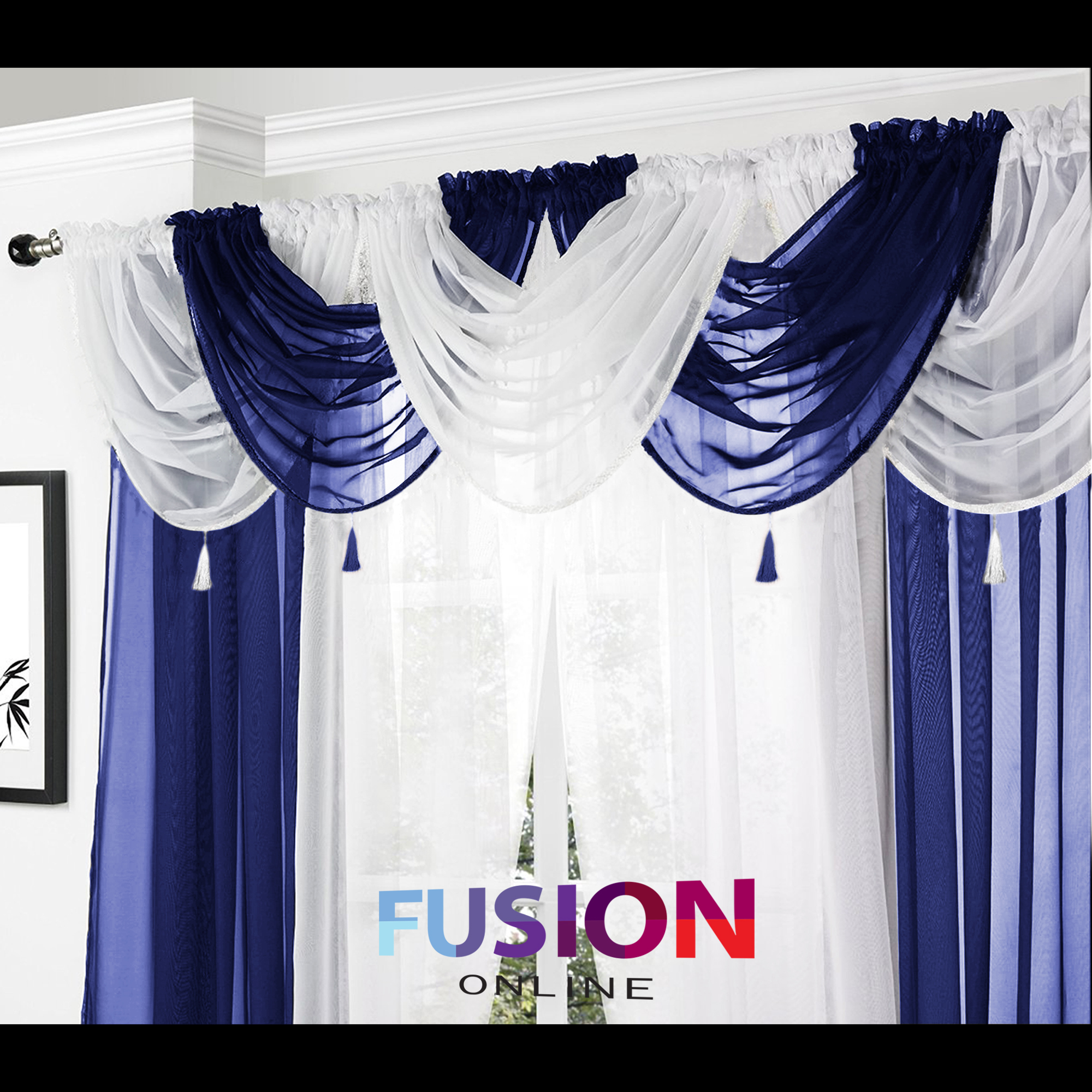 Net Curtain Swag Swags Tassle Voile Decorative Drapes