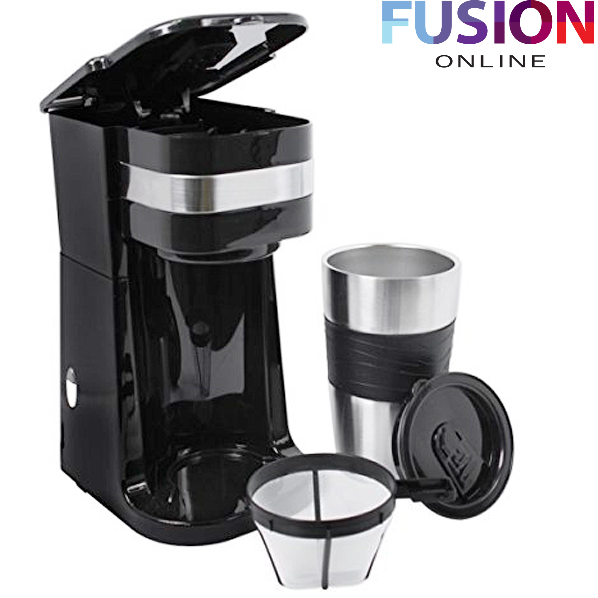 Coffee Maker That Fits Travel Mug : COFFEE MAKER MACHINE WITH THERMAL TRAVEL MUG PORTABLE 700W HOT CHOCOLATE COFEE eBay