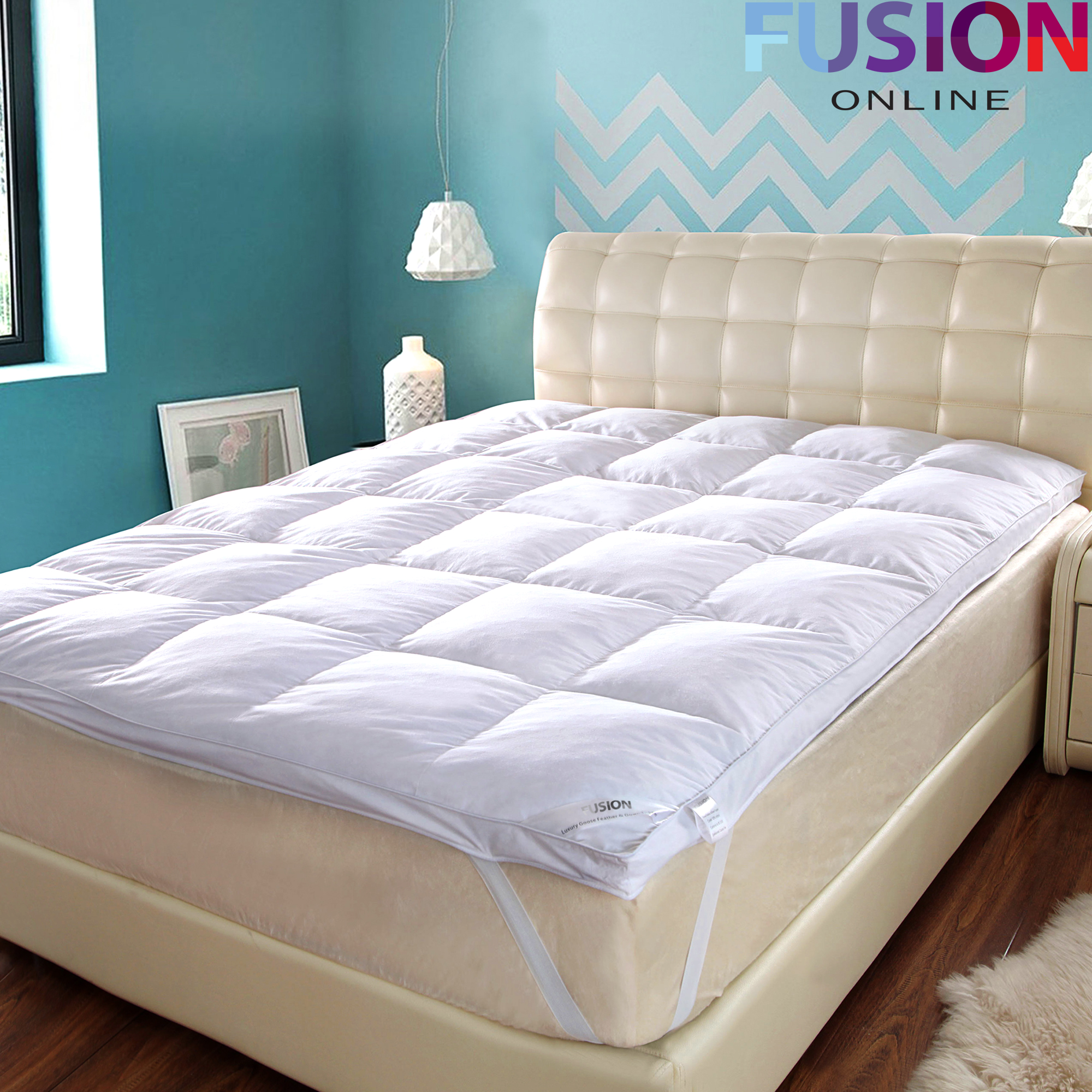 LUXURY GOOSE FEATHER & DOWN MATTRESS TOPPER ELASTICATED