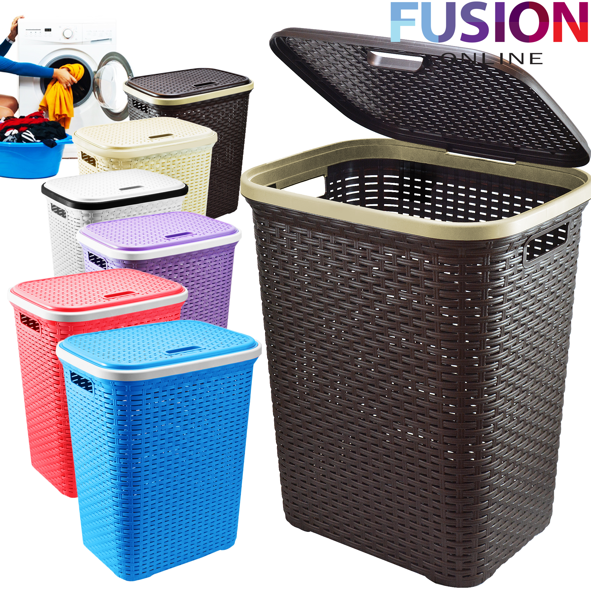 Large Laundry Basket Washing Clothes Storage Hamper Rattan Style Plastic Basket Ebay