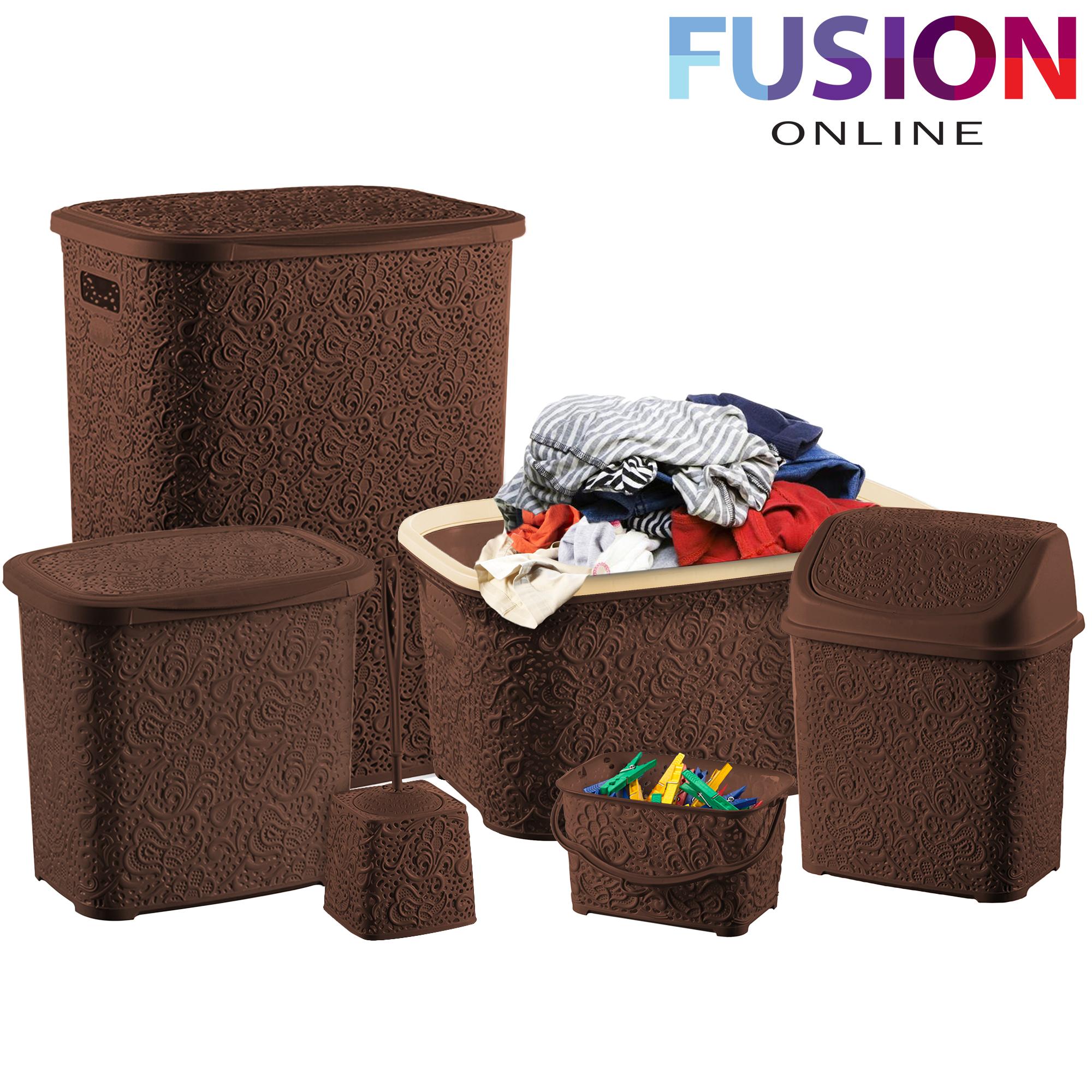 6 pcs bath set essentials bathroom bin basket toilet brush for Bathroom holder sets