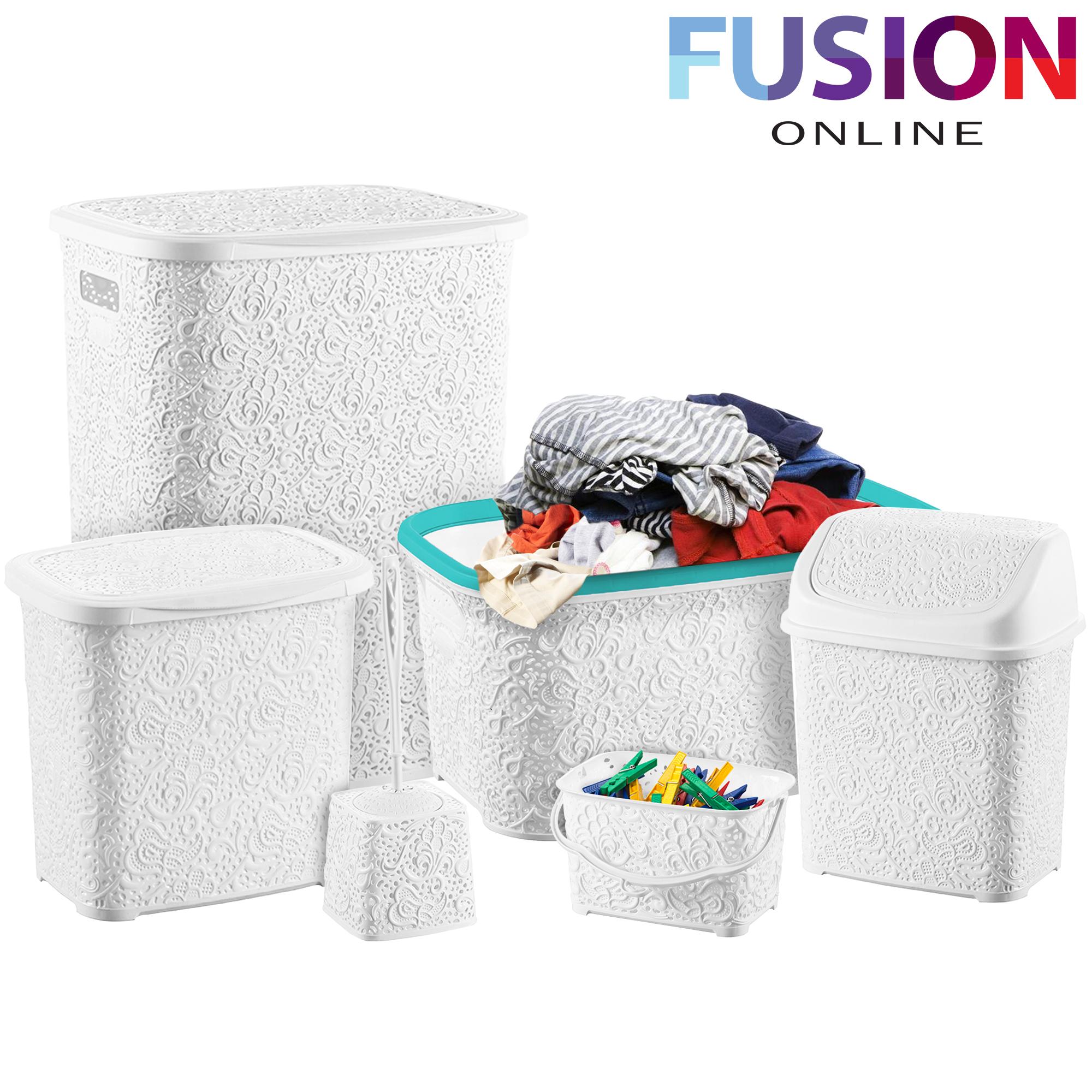 6 pcs bath set essentials bathroom bin basket toilet brush for Black bathroom bin and toilet brush