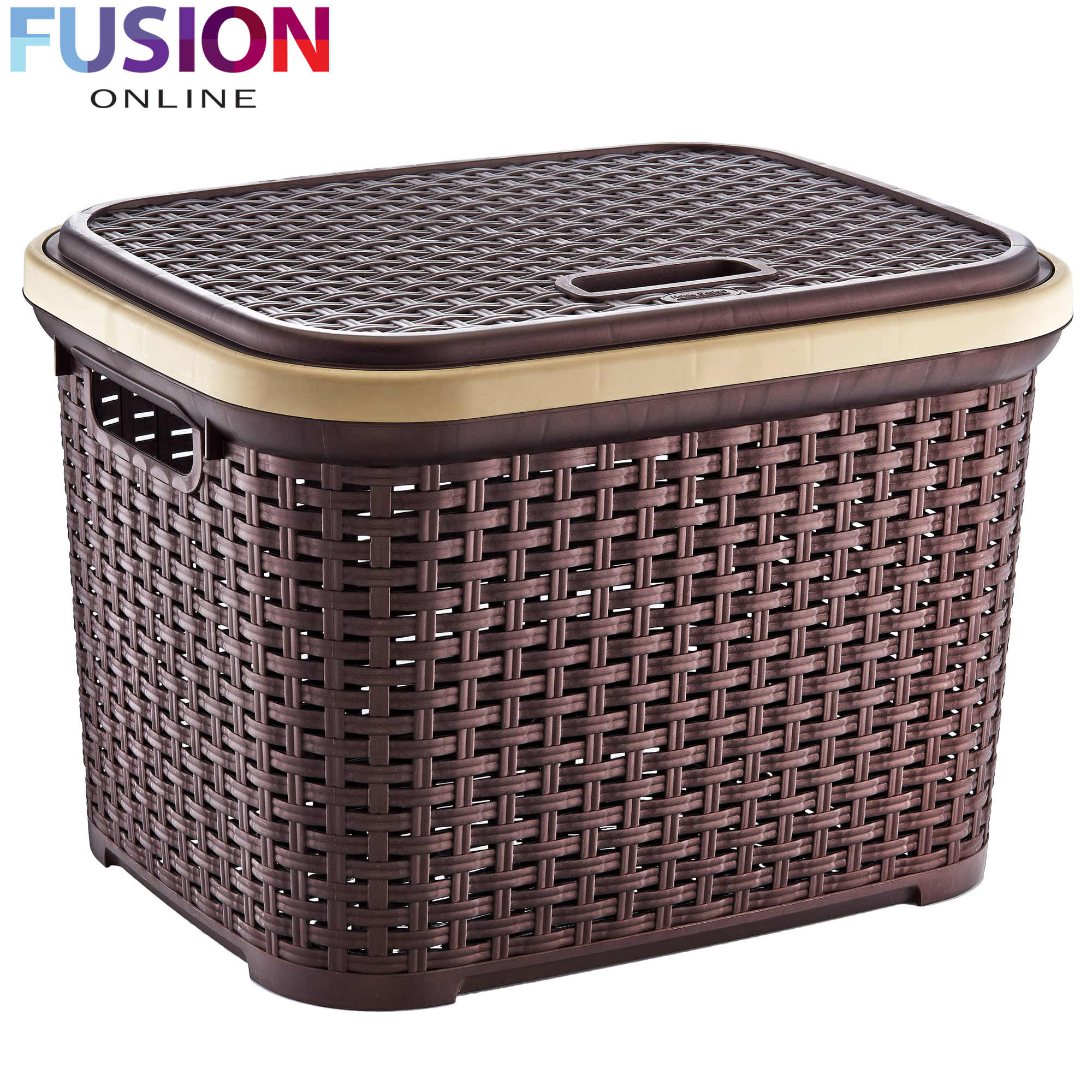 Medium laundry basket washing clothes storage hamper plastic basket rattan style ebay - Rattan laundry hamper ...