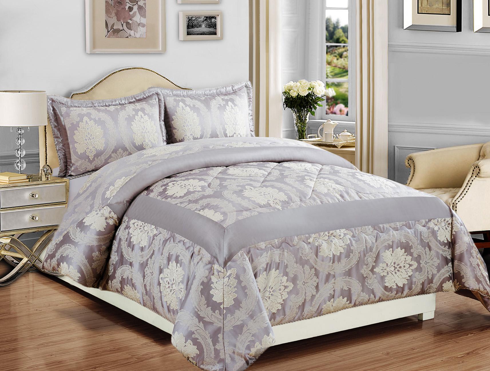 luxury bedspread 3pcs jacquard bedspread quilted bed spread comforter set king ebay. Black Bedroom Furniture Sets. Home Design Ideas