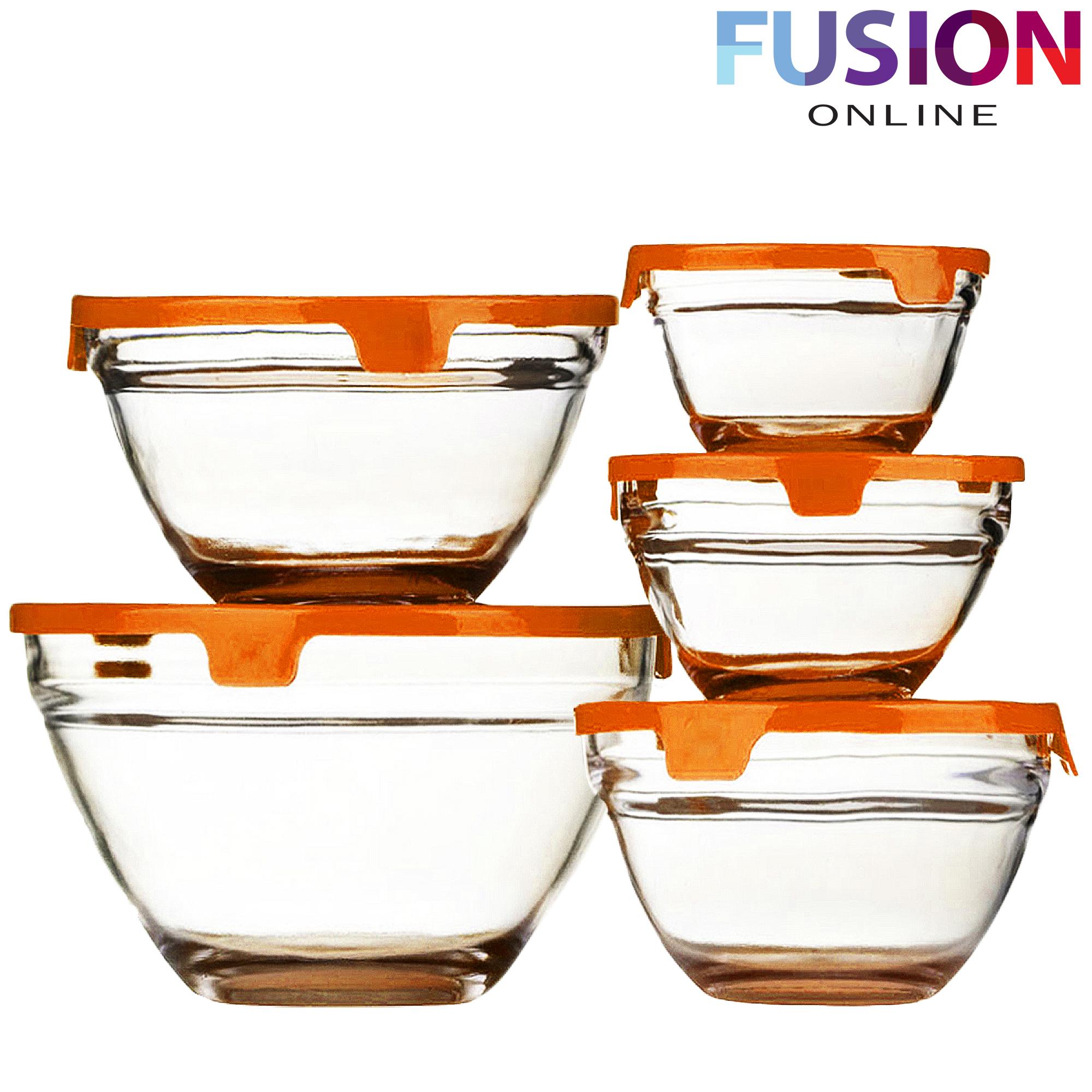 5 stackable glass bowl bowls food storage kitchen set with lids dishwasher safe ebay. Black Bedroom Furniture Sets. Home Design Ideas