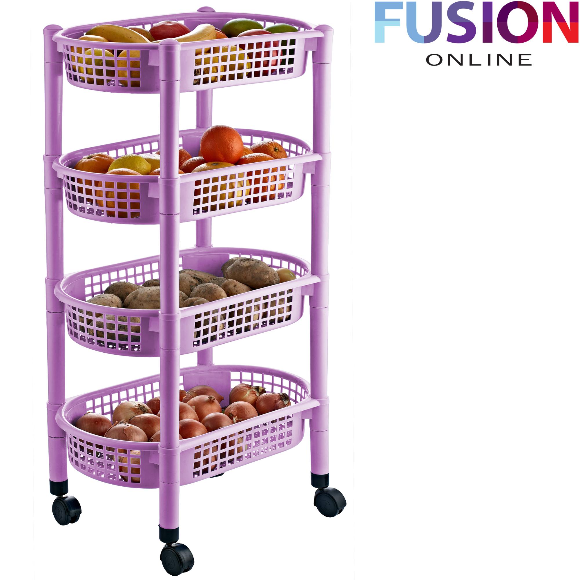 4 Tier Kitchen Fruit Vegetable Rack On Wheels Deep Storage Stand Cart Trolley Ebay