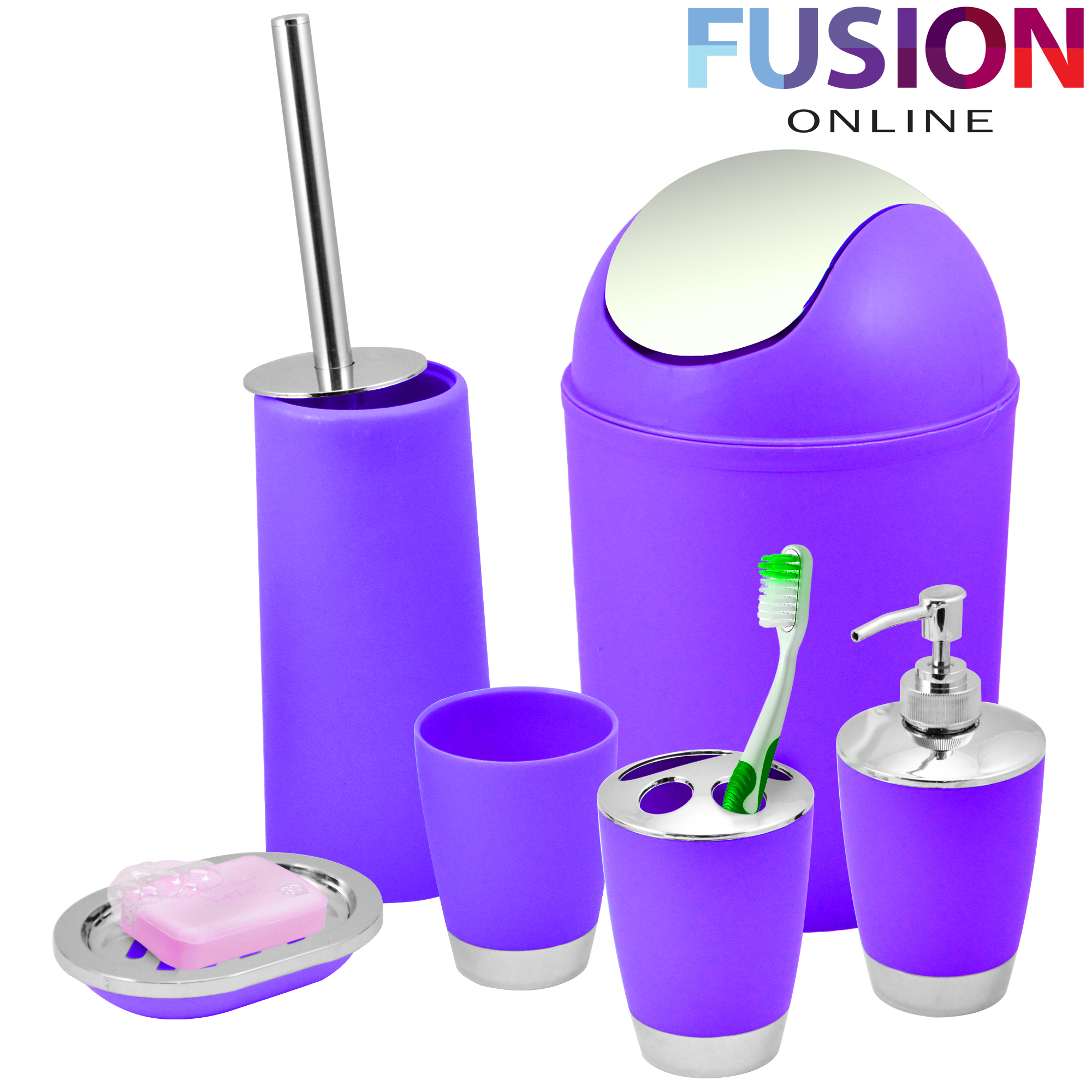 Bathroom set 6 piece accessory bin soap dish dispenser for Purple bathroom bin