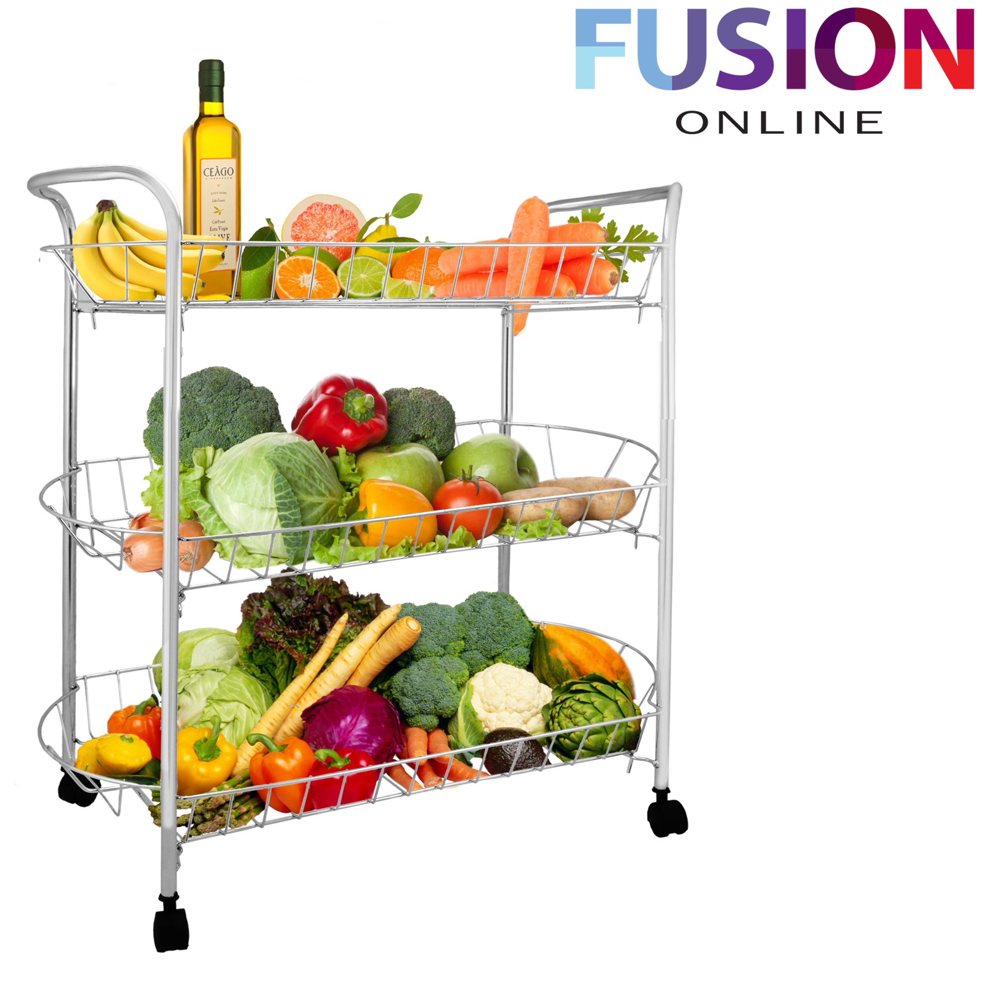 3 Tier Chrome Fruit Vegetable Rack W Wheels Storage Stand Cart Trolley Kitchen Ebay