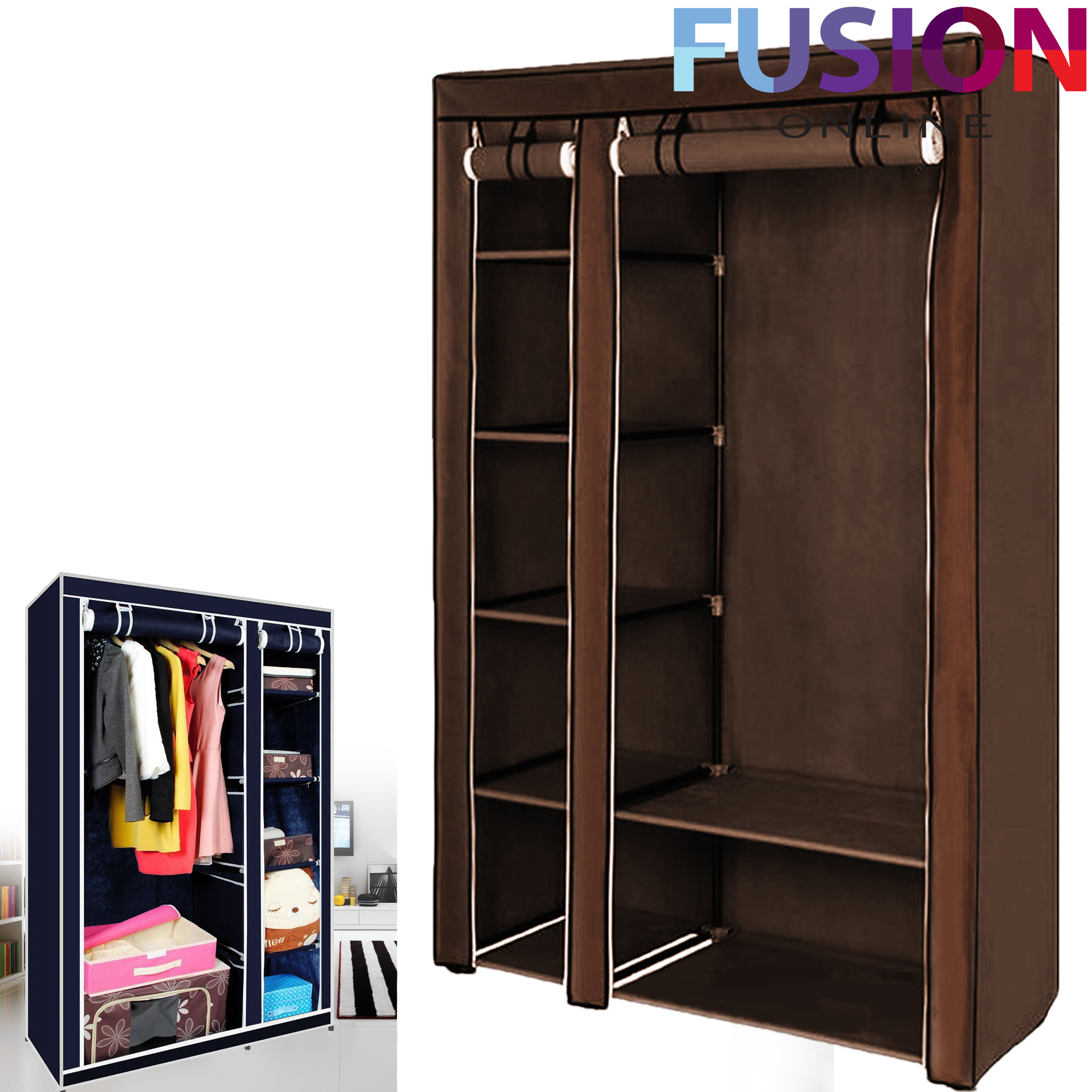 Fabric Storage Cabinets: Double Fabric Canvas Clothes Storage Organiser Wardrobe
