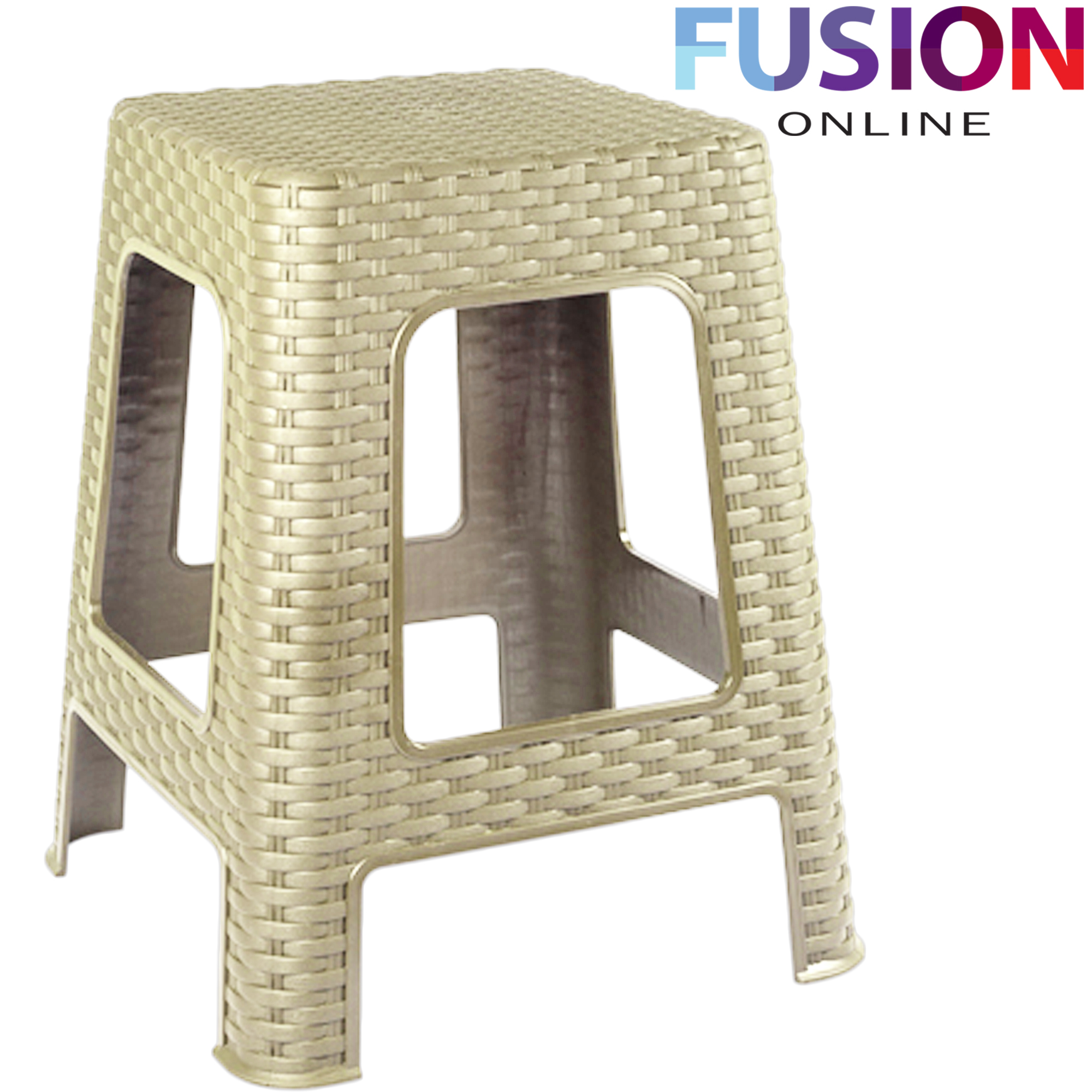 New Large Plastic Rattan Step Stool Indoor Outdoor Home