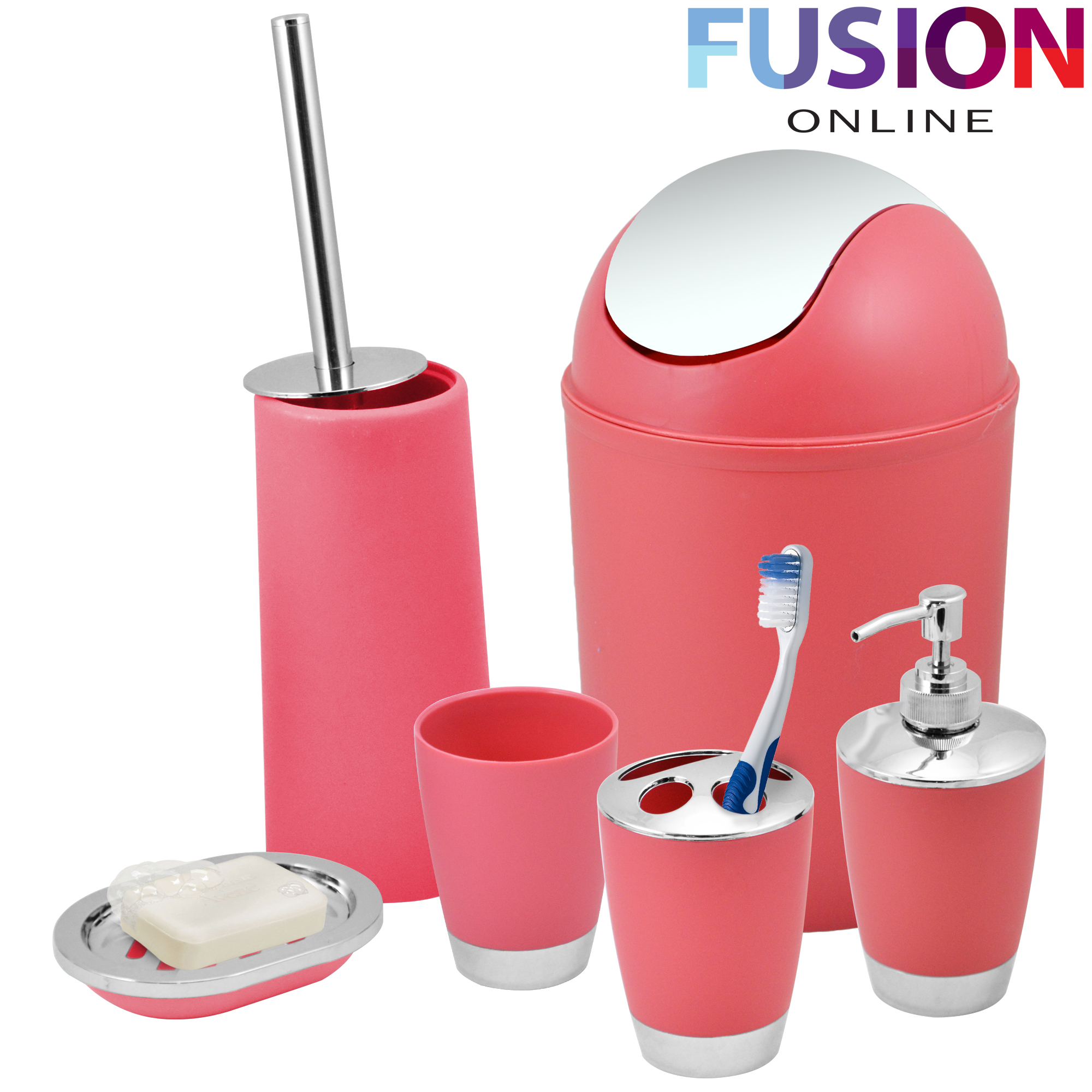 Bathroom set 6 piece accessory bin soap dish dispenser for Pink bathroom bin