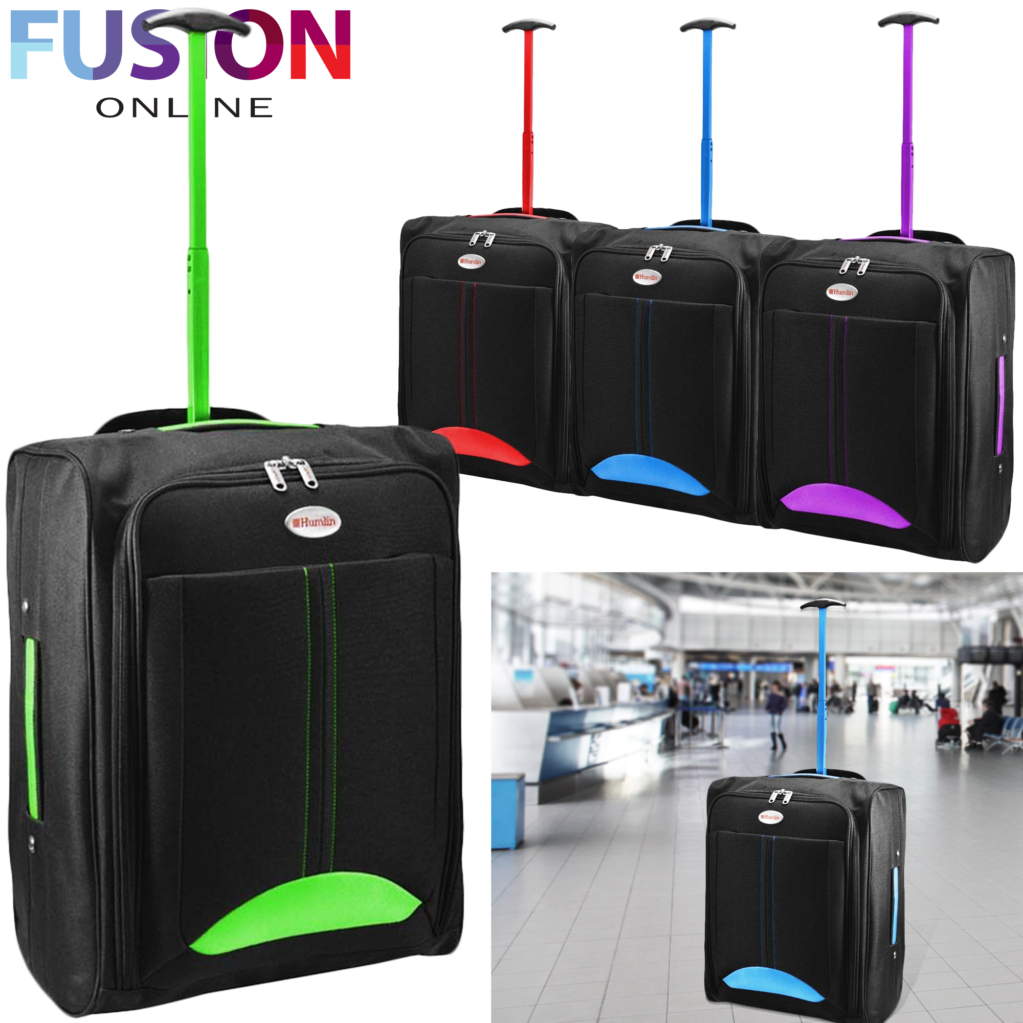 f3bee1b75 Details about Cabin Hand Suitcase Luggage Bag Travel Wheeled Lightweight  Trolley Holdall New