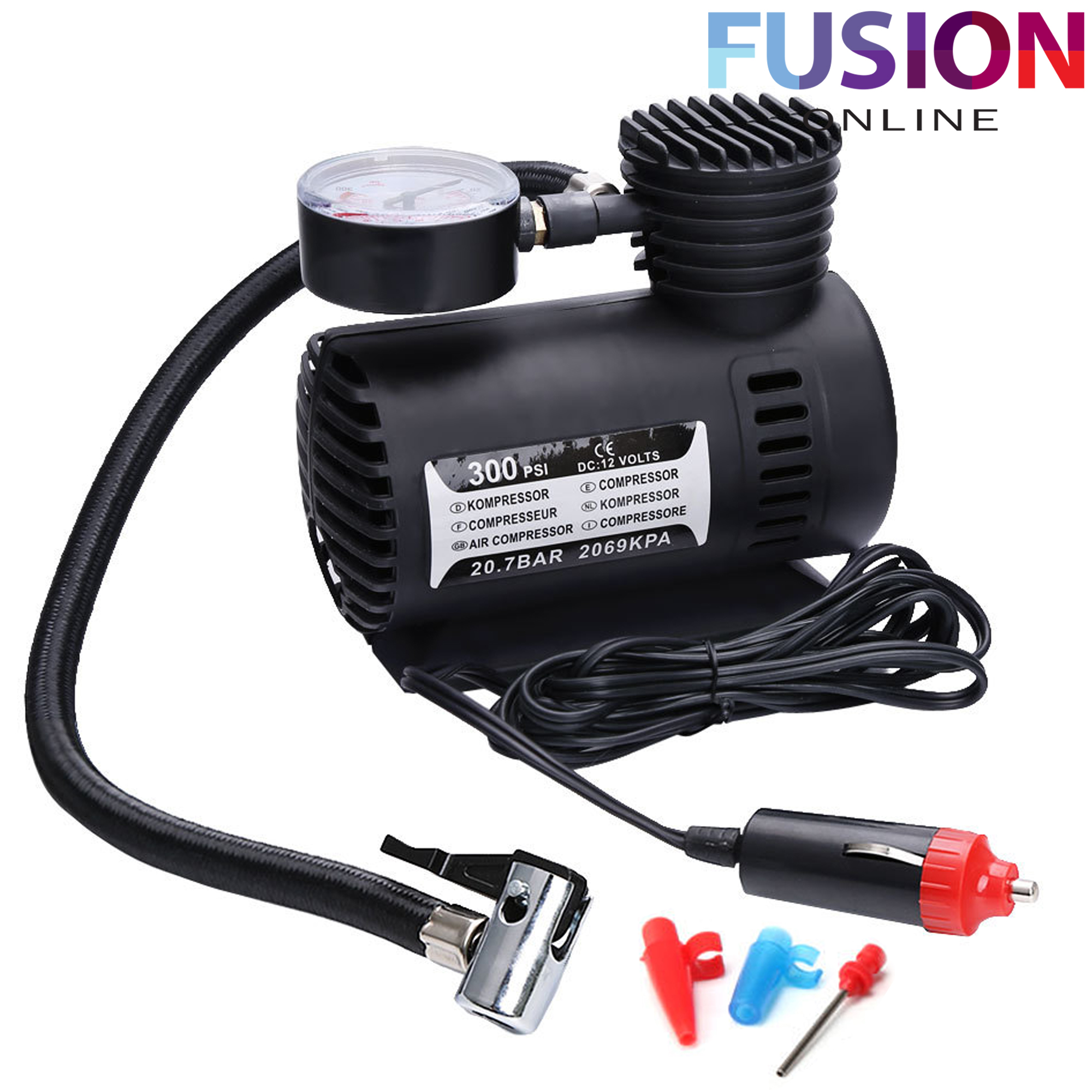 Air Compressor Pump Car Bike Van Tyre Inflator Bicycle Compact 12v 300psi New 5056074344316