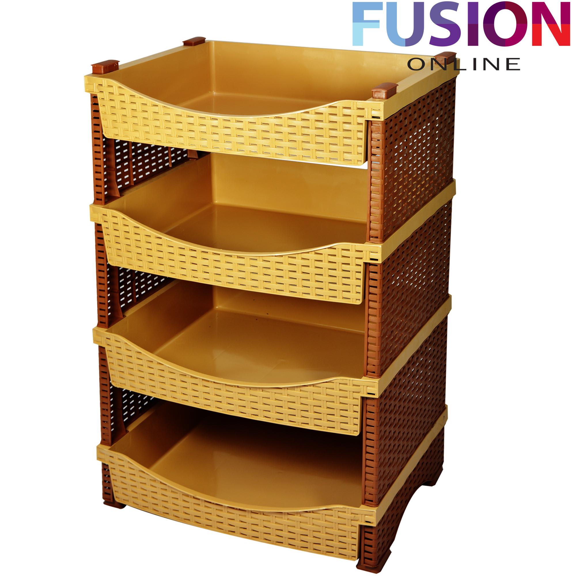 Kitchen Vegetable Storage Baskets: 4 Tier Rattan Plastic Vegetable Fruit Rack Basket Kitchen