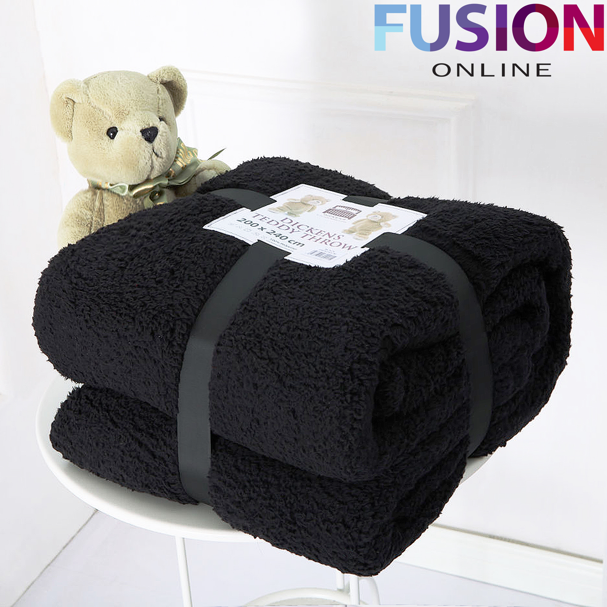 LUXURY THICK WARM SOFT TEDDY BEAR SHERPA FLEECE BLANKET SOFA BED THROW