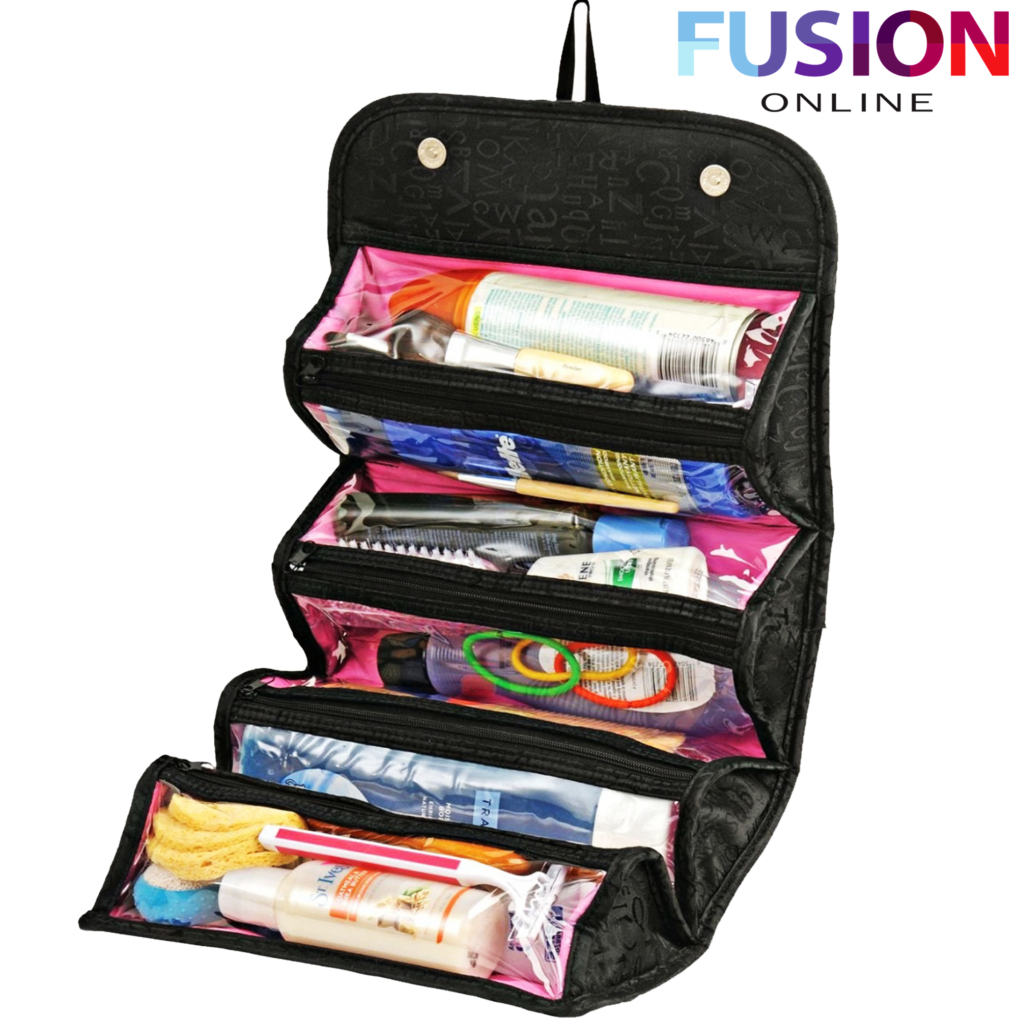 Makeup Case COSMETIC BAG Roll-N-Go Roll Up Travel Pouch Smart Toiletry Bag 157b2b13bae1e
