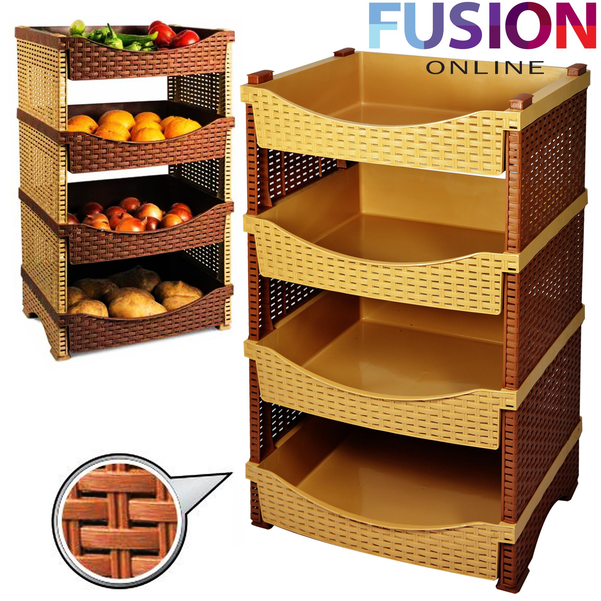 4 Tier Rattan Plastic Vegetable Fruit Rack Basket Kitchen ...