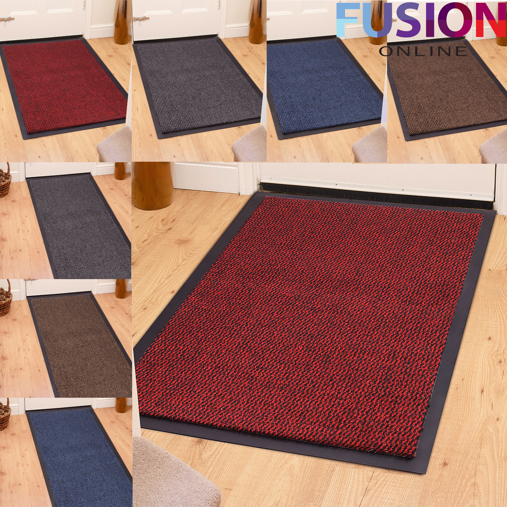 HEAVY DUTY NON SLIP RUBBER BARRIER MAT LARGE & SMALL RUGS