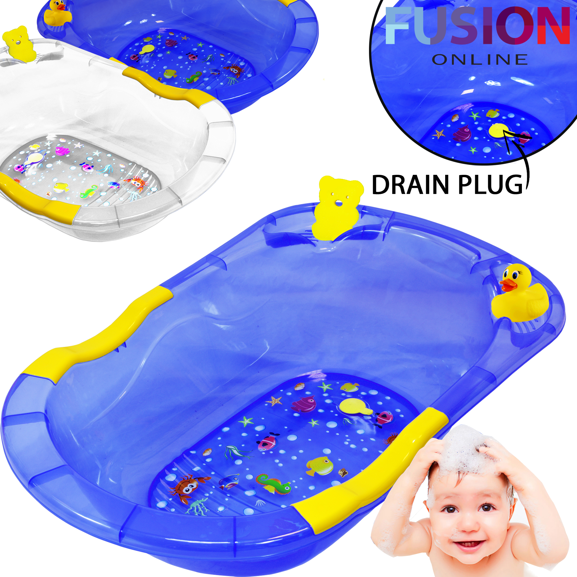 JUMBO X LARGE BABY BATH TUB PLASTIC WASHING TIME BIG TODDLER BASKET ...