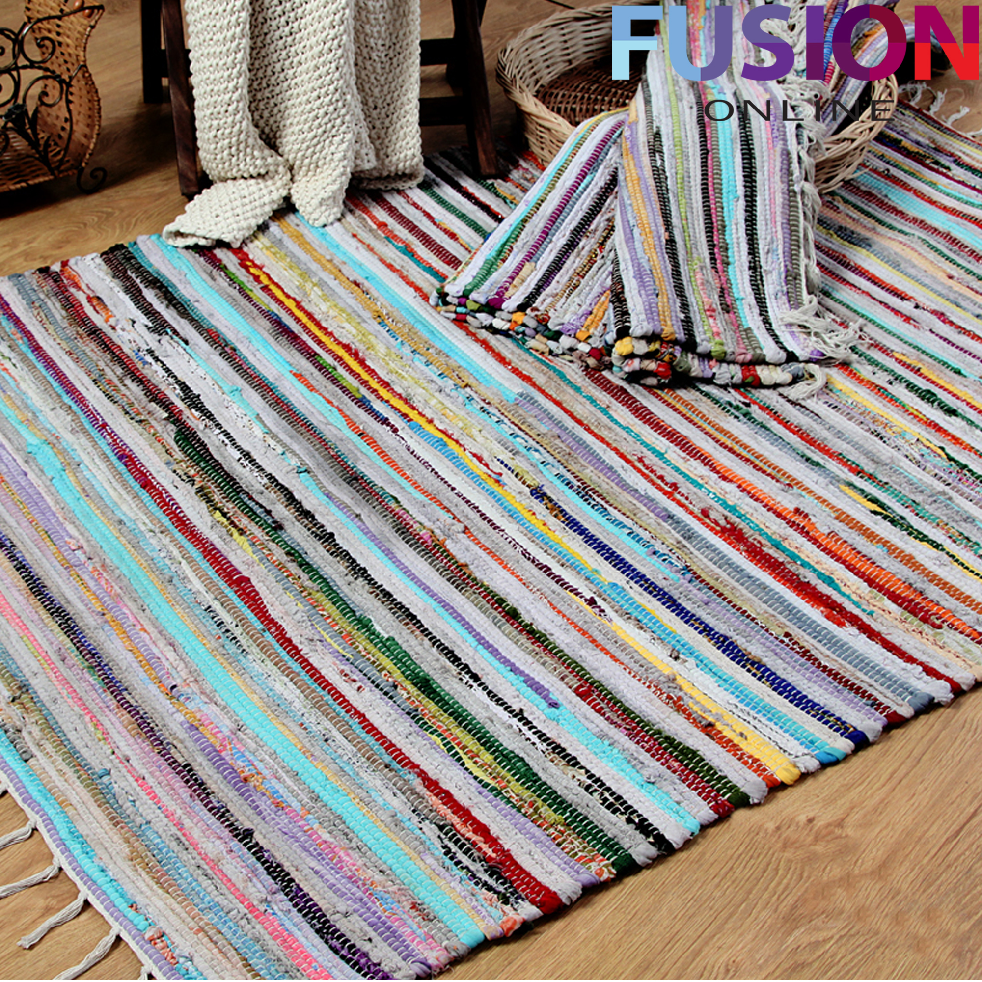 100 Cotton Handmade Multi Colour Chindi Rug Area Rag Rugs
