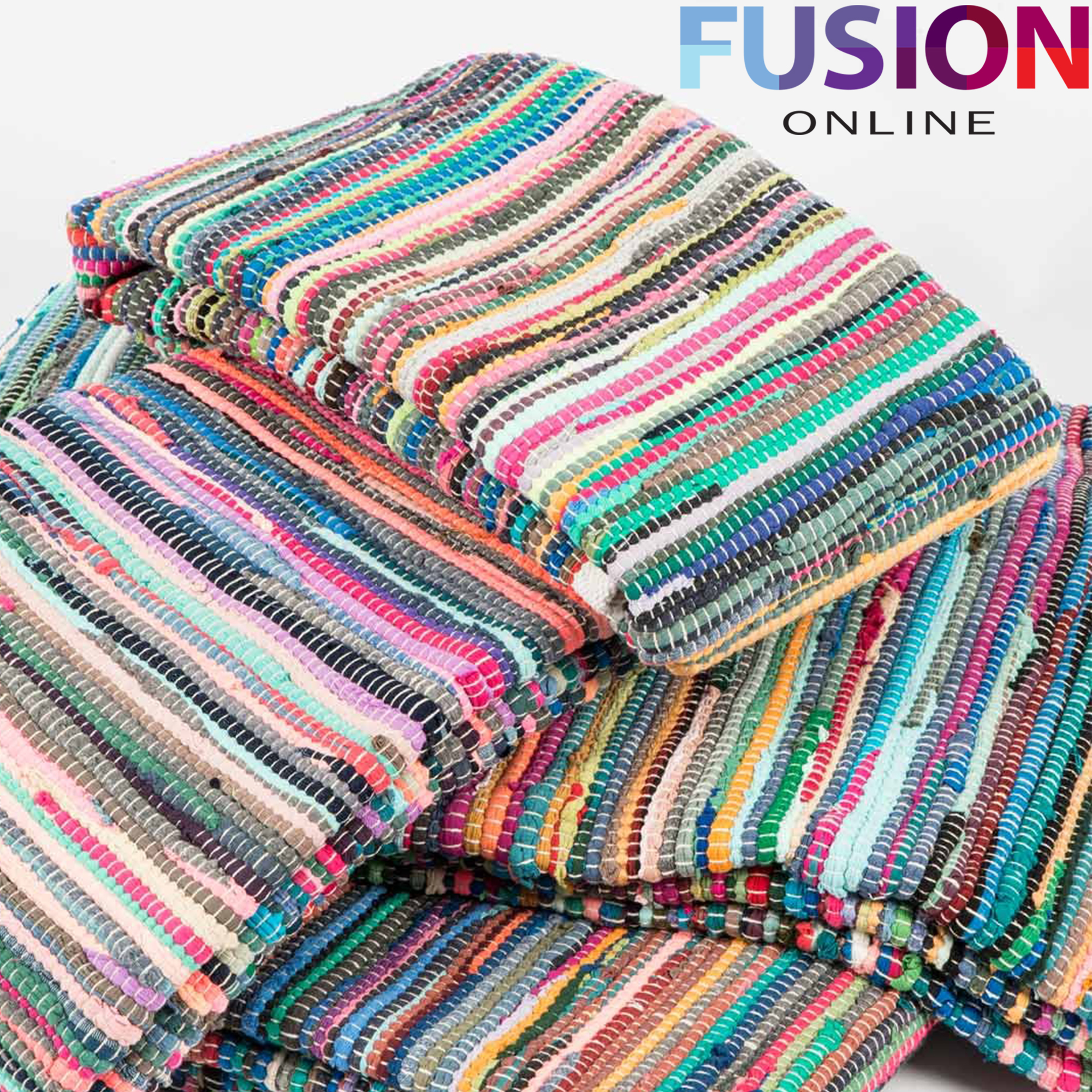 100% Cotton Handmade Multi Colour Chindi Rug Area Rag Rugs