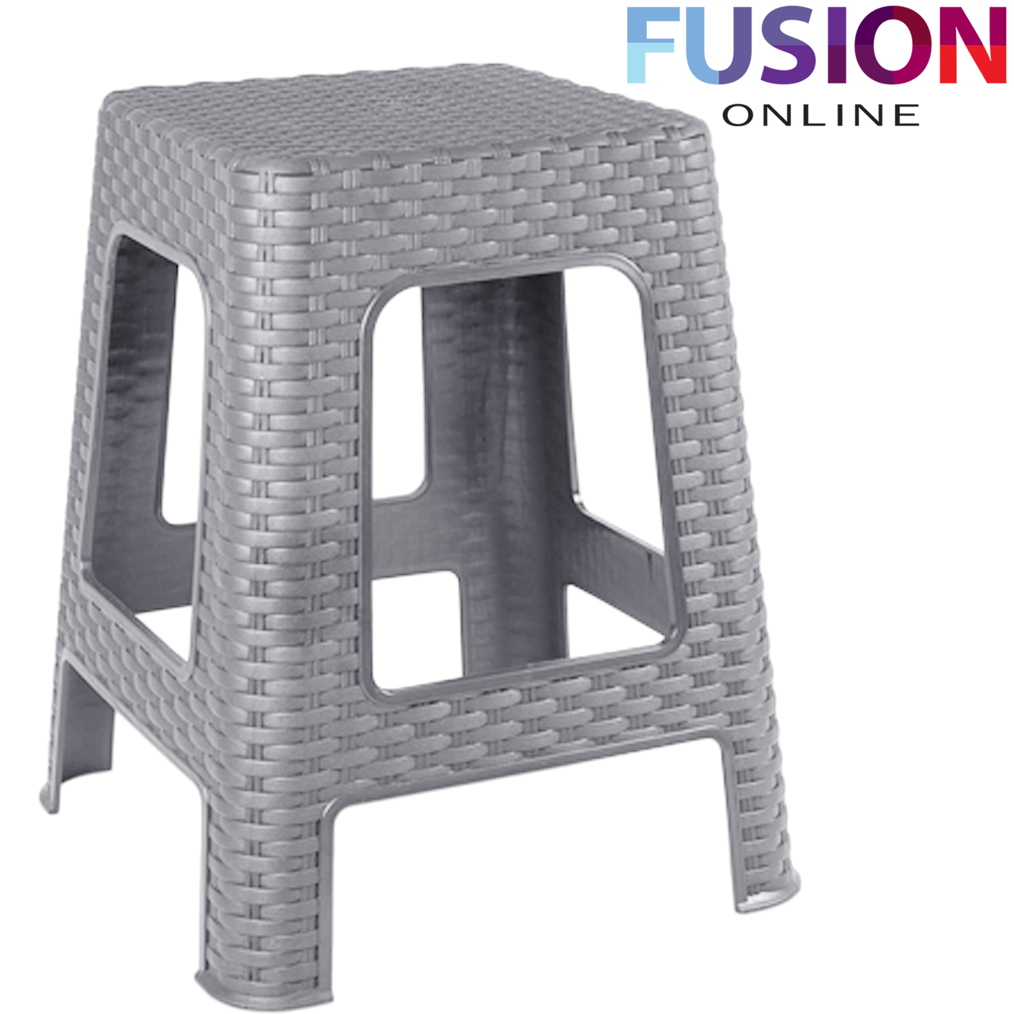 NEW LARGE PLASTIC RATTAN STEP STOOL INDOOR OUTDOOR HOME KITCHEN