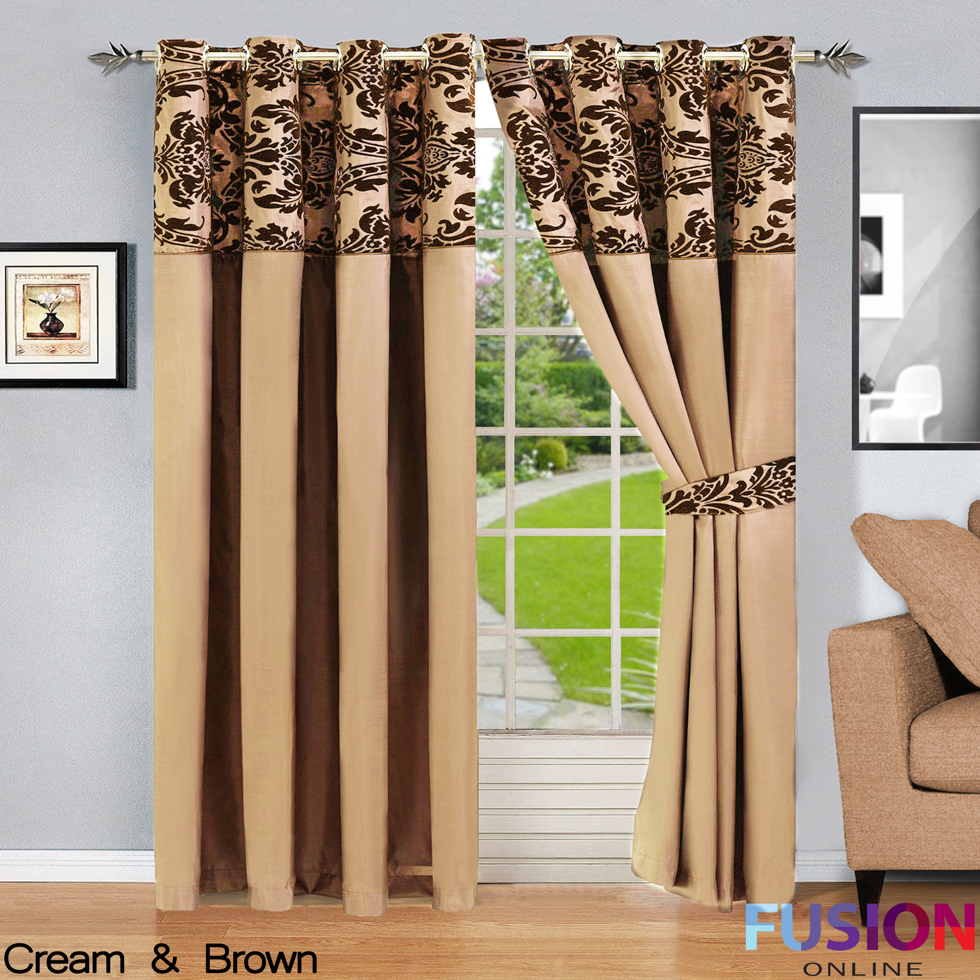 RING TOP FULLY LINED PAIR EYELET READY CURTAINS LUXURY DAMASK ...