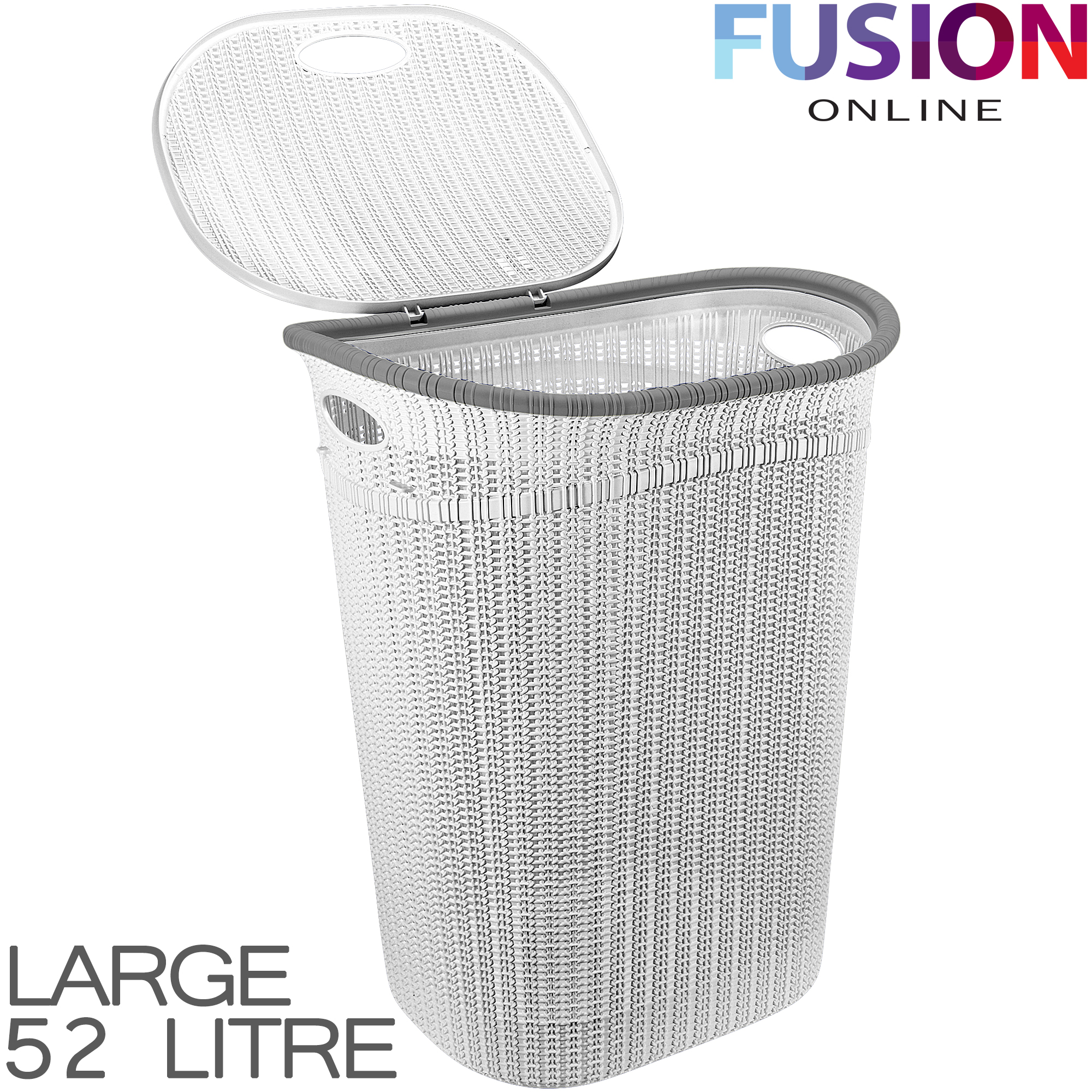 Plastic laundry basket washing clothes bin rattan knot style with handles lid ebay - Rattan laundry basket with lid ...