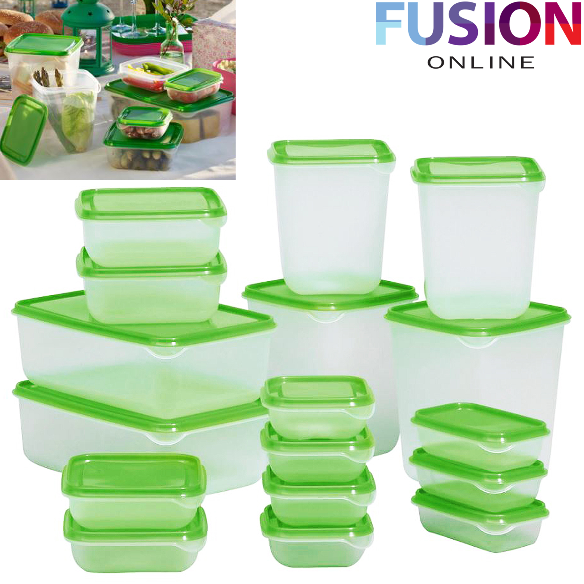 Ikea Pruta 17 Pcs Green Plastic Food Containers Storer