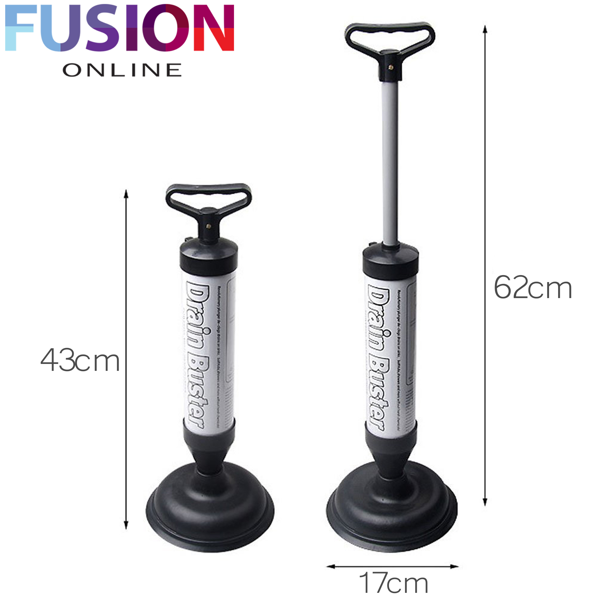 POWERFUL DRAIN PLUNGER BUSTER TOILET UNBLOCKER SINK CLOG REMOVER ...