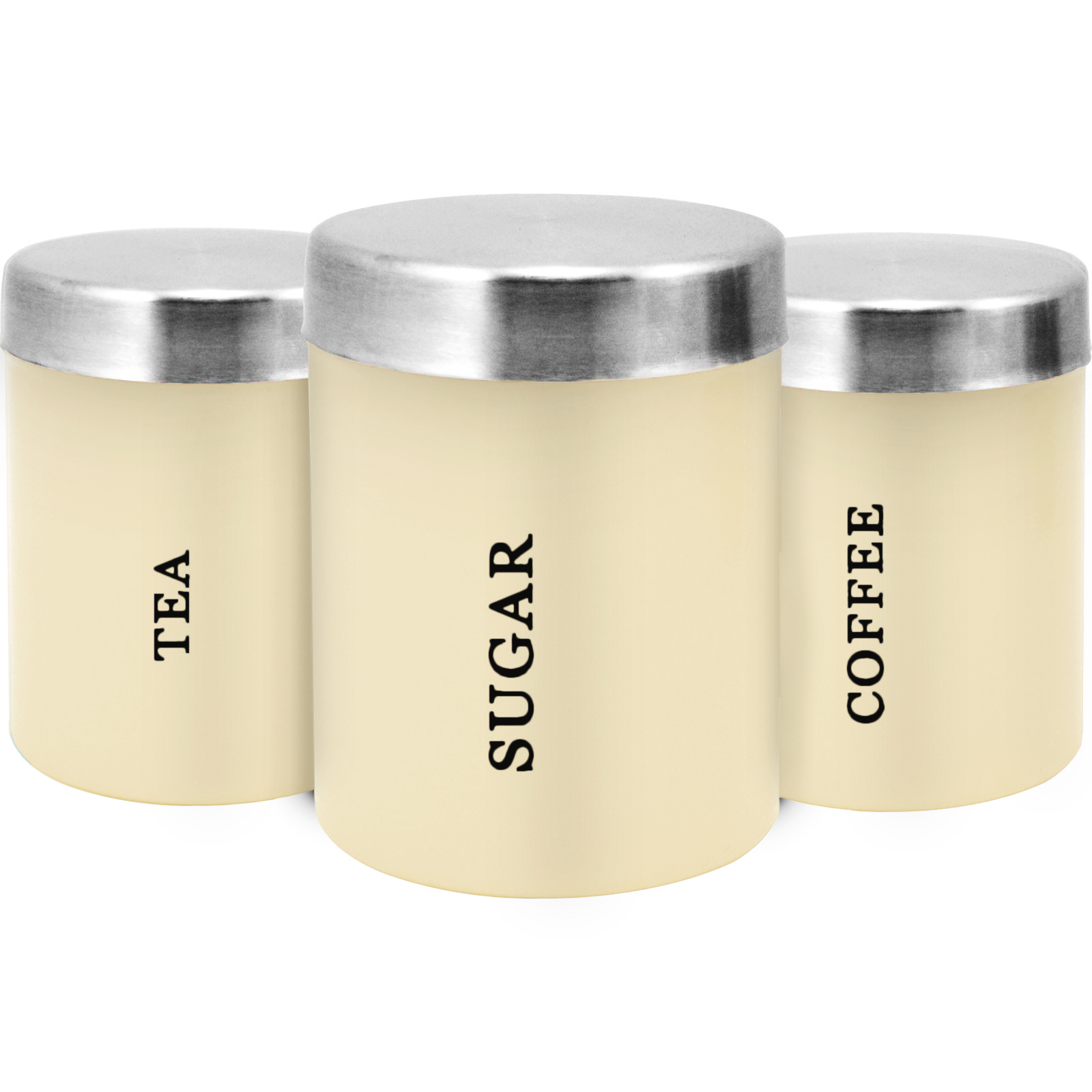 Stainless Steel Window Canister Set 3 Pc >> 3PC CANISTER SET STAINLESS STEEL COFFEE TEA SUGAR JAR LID CANISTERS STORAGE NEW | eBay