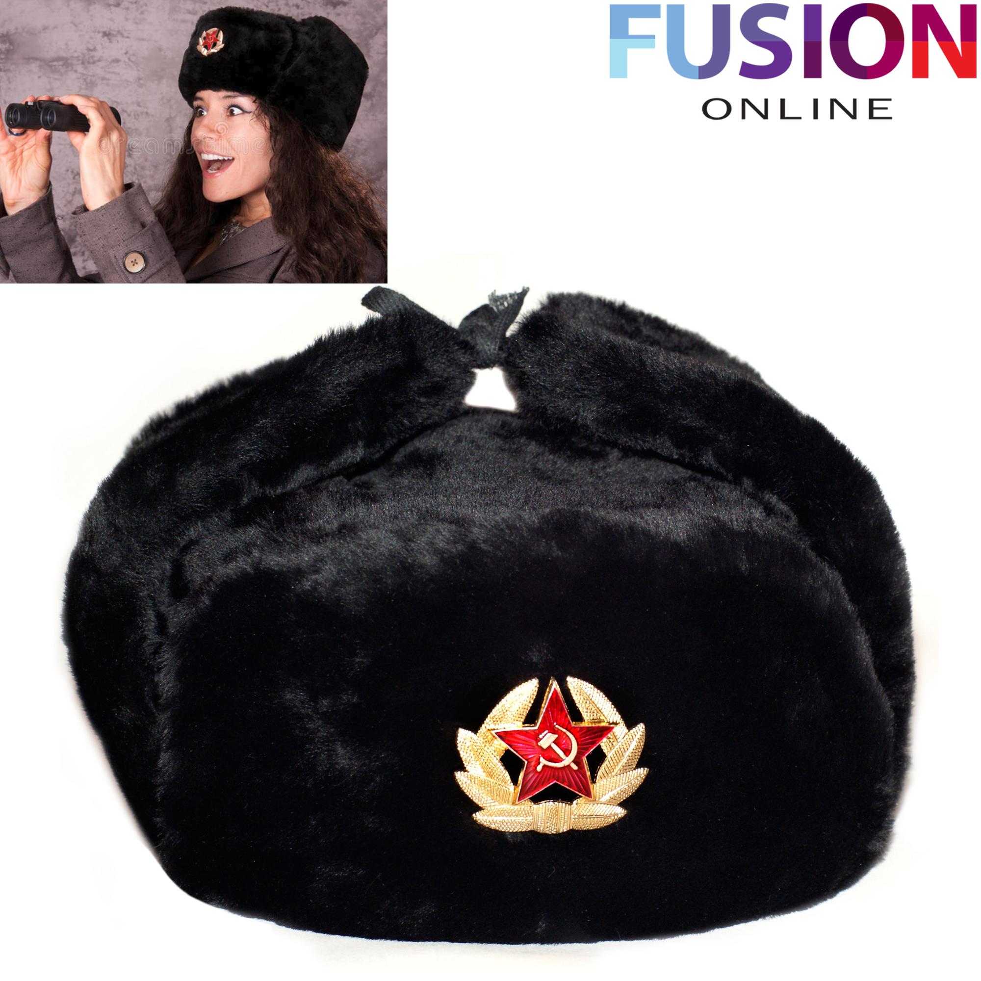 5f0af244712 Details about Black Russian Trapper Hat With Soviet Badge Faux Fur Ushanka  Cossack Flaps