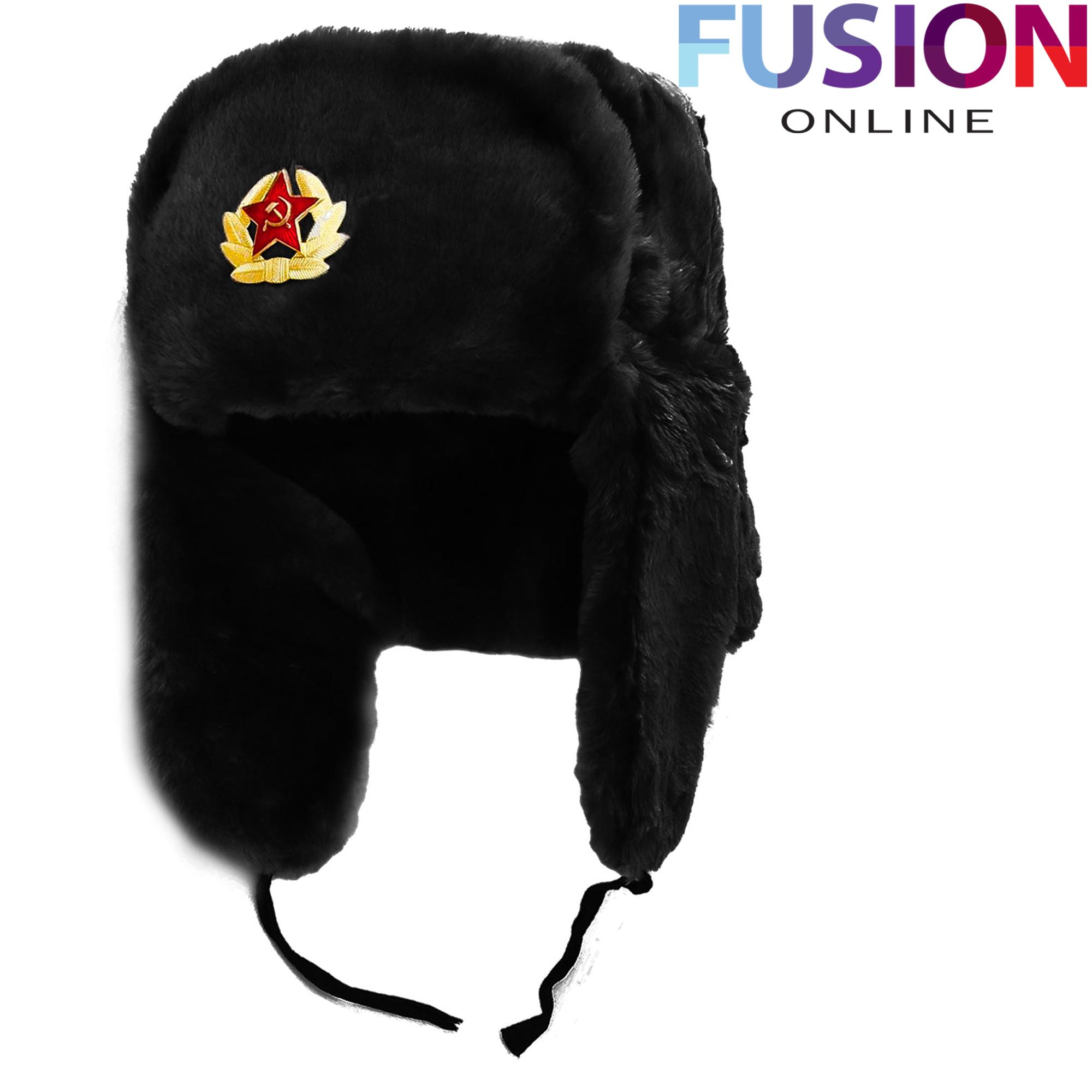 RUSSIAN HAT WITH SOVIET BADGE IN BLACK FAUX FUR BLACK RUSSIAN WARM TRAPPER HAT