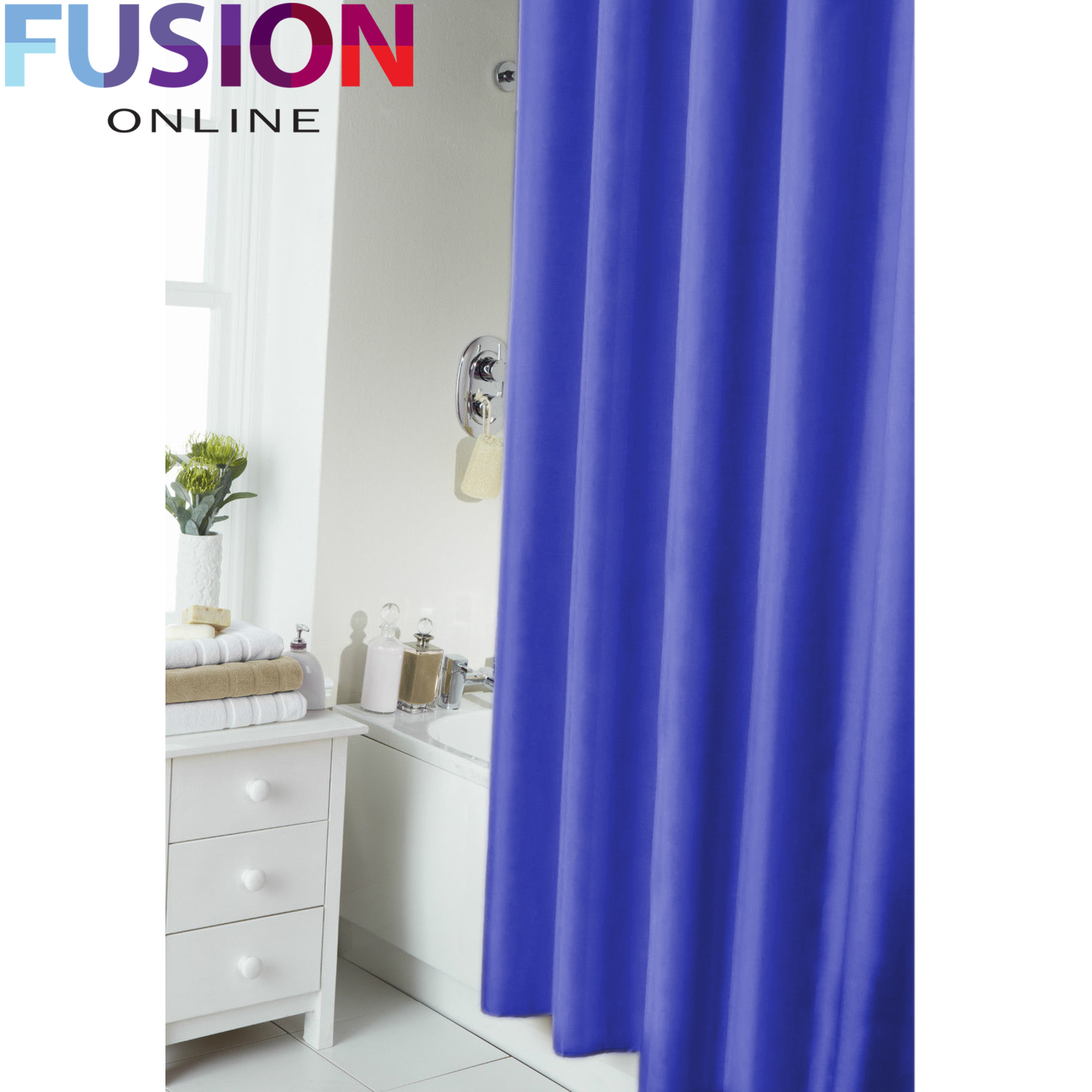 PLAIN-SHOWER-BATHROOM-CURTAIN-12-HOOK-RING-SET-180X180CM-MILDEW-SPLASH-RESISTANT