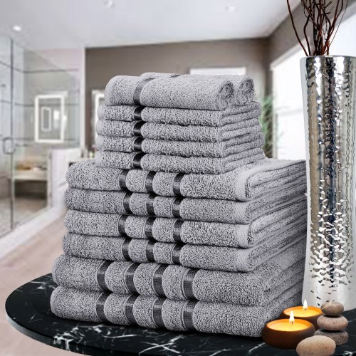 12 Piece Satin Towels Working Silver