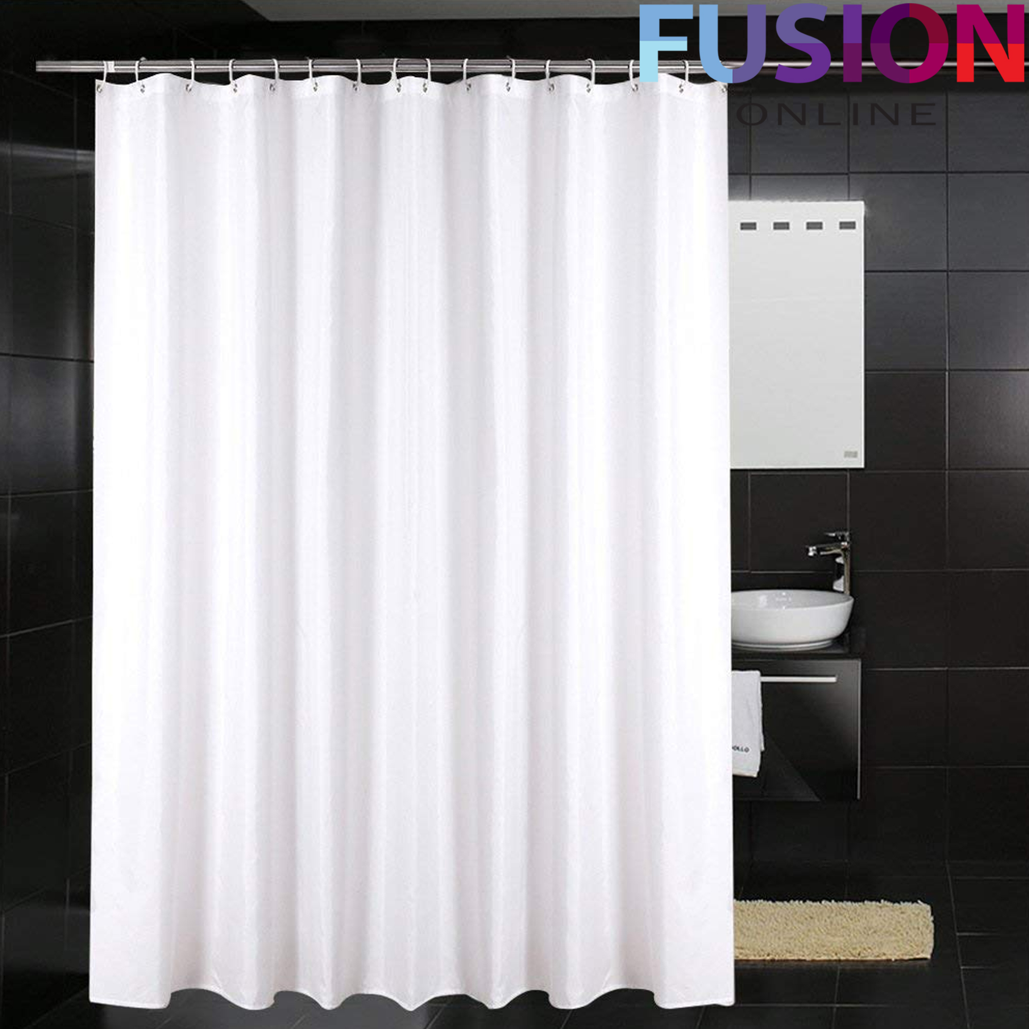 Details About Shower Curtain Bath Bathroom Waterproof 180 X 180 Cm Plain White With 12 Hooks