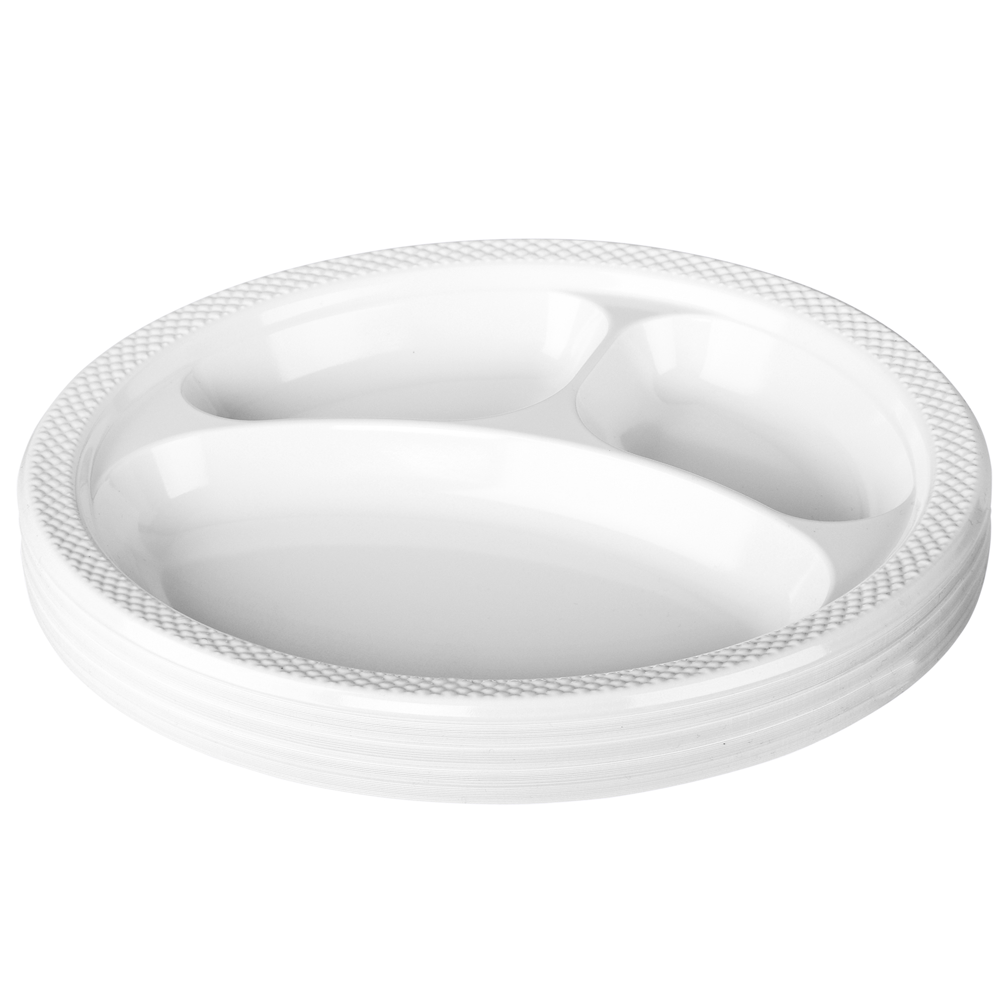 500 x 10 inch White 3 Compartment Round Plastic Disposable BBQ  Party Plate Party Supplies