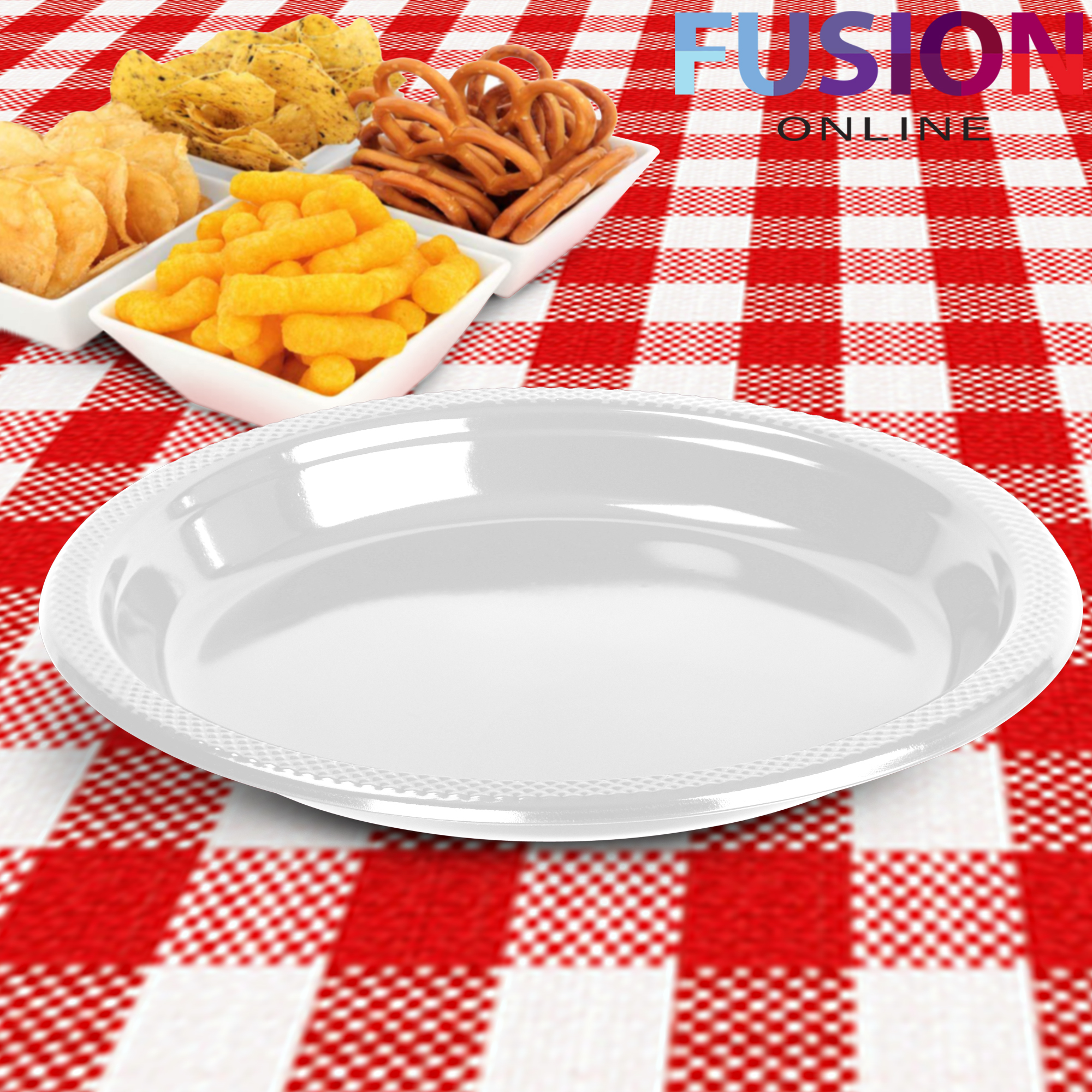 Evelyn Living Disposable Round Plastic Plates 9 Inch Tableware BBQ Party Wedding Catering Strong Black, 40
