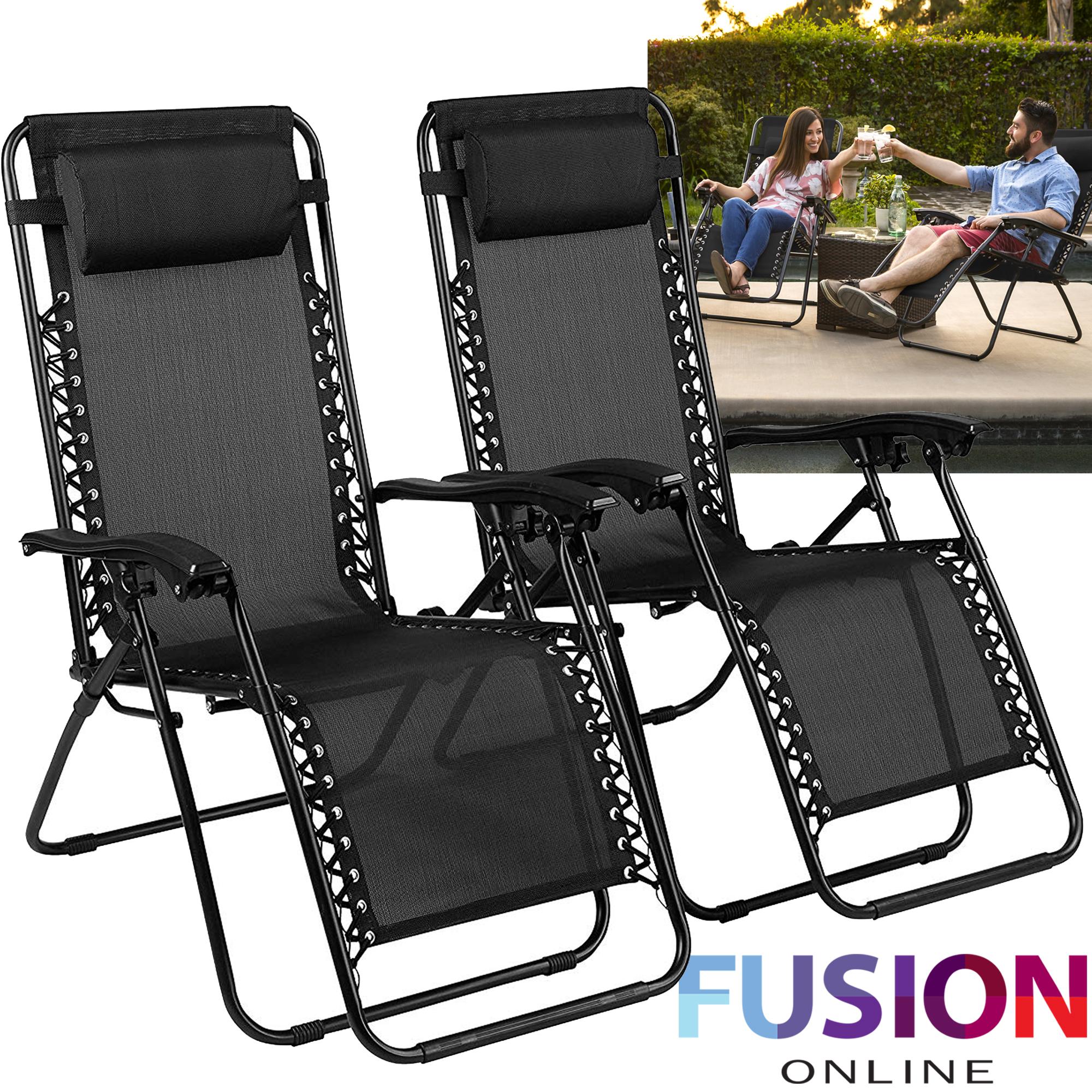 Details about Zero Gravity Chair Sun Lounger Outdoor Garden Folding Reclining Adjustable x 2