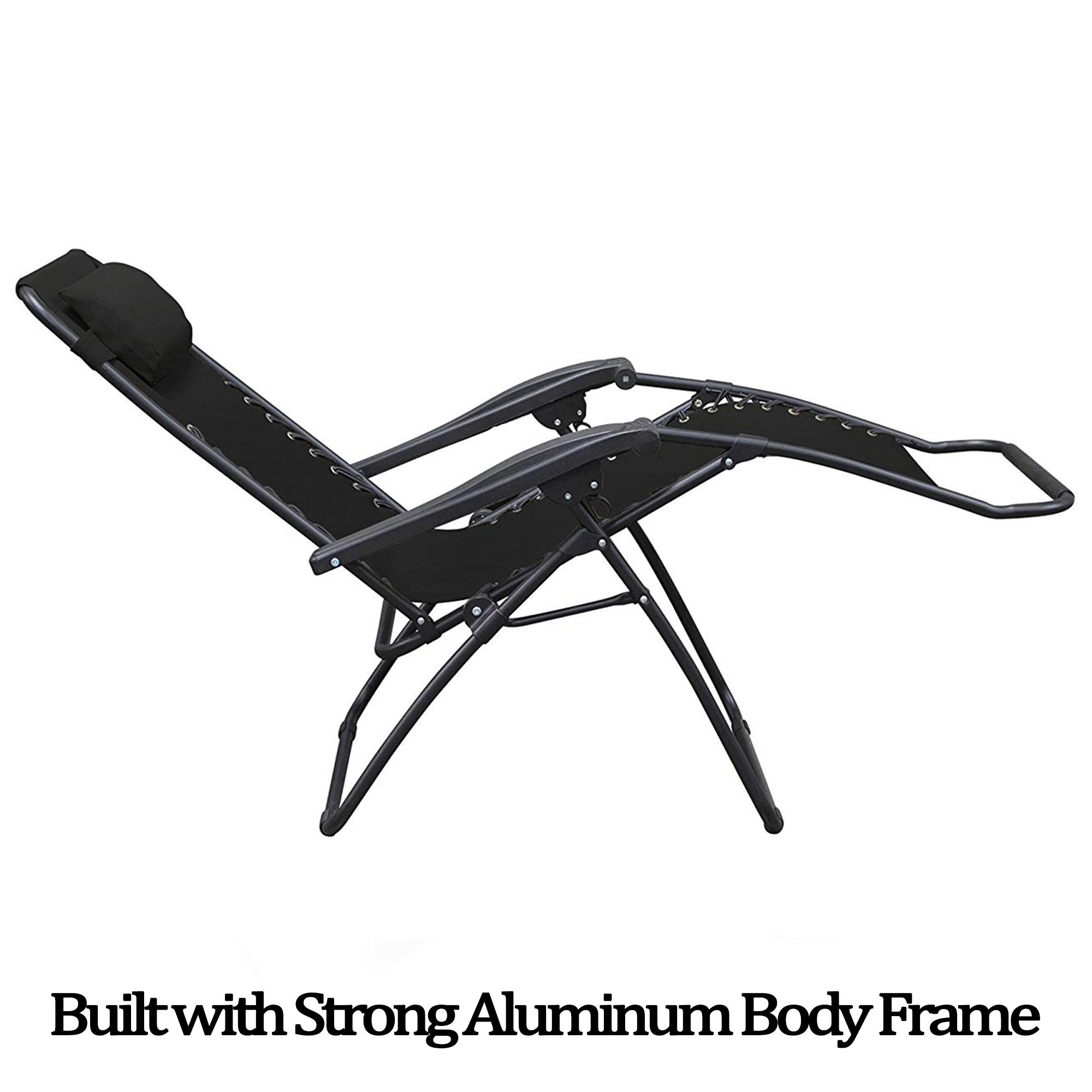 Details About 2 X Zero Gravity Chair Reclining Sun Lounger Outdoor Garden Folding Adjustable