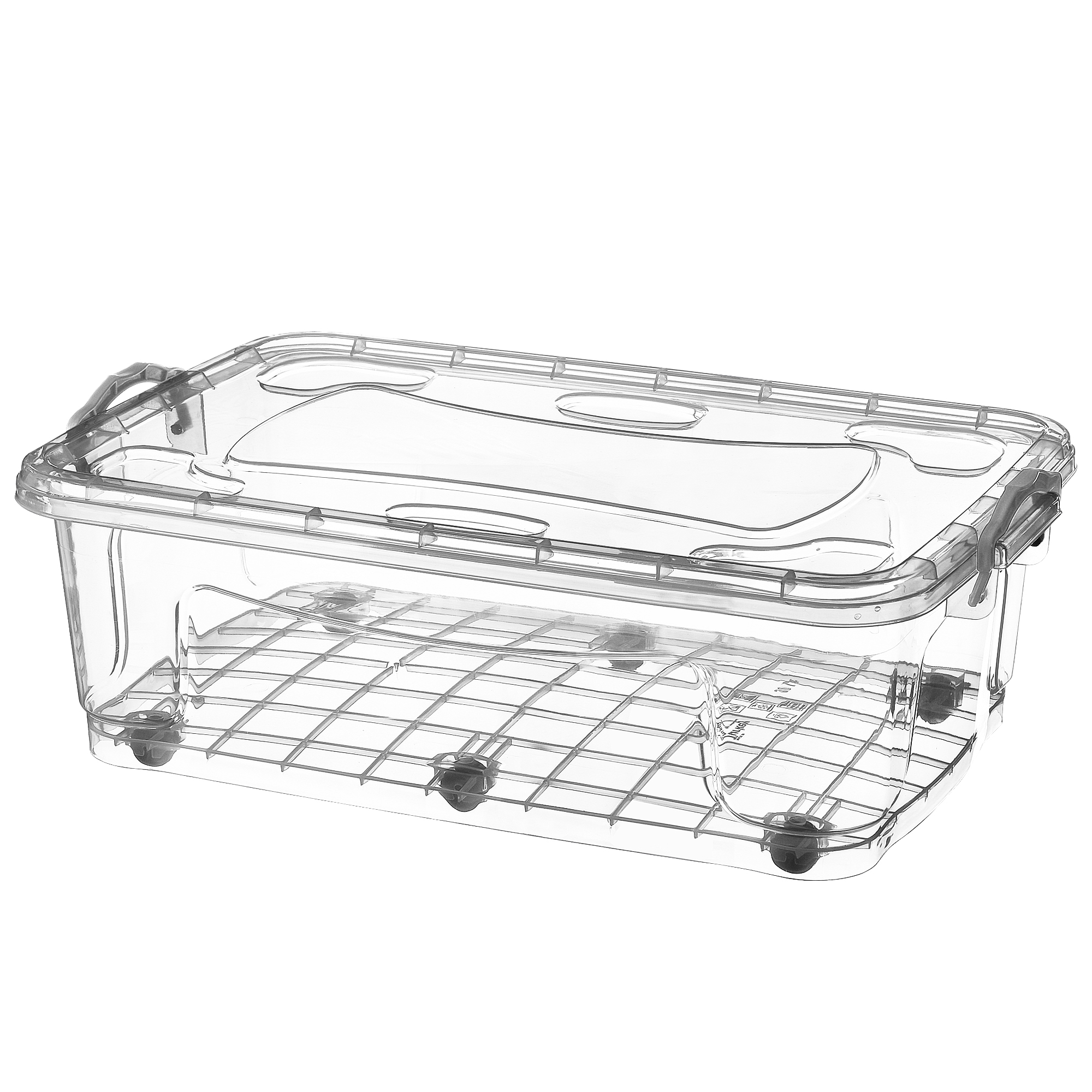 Plastic Storage Box With Wheels Clear Boxes Under Bed Clip Locking