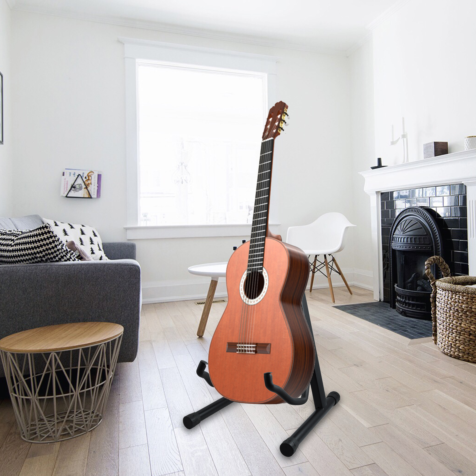 guitar stand a frame folding universal fits all guitars acoustic electric bass a ebay. Black Bedroom Furniture Sets. Home Design Ideas