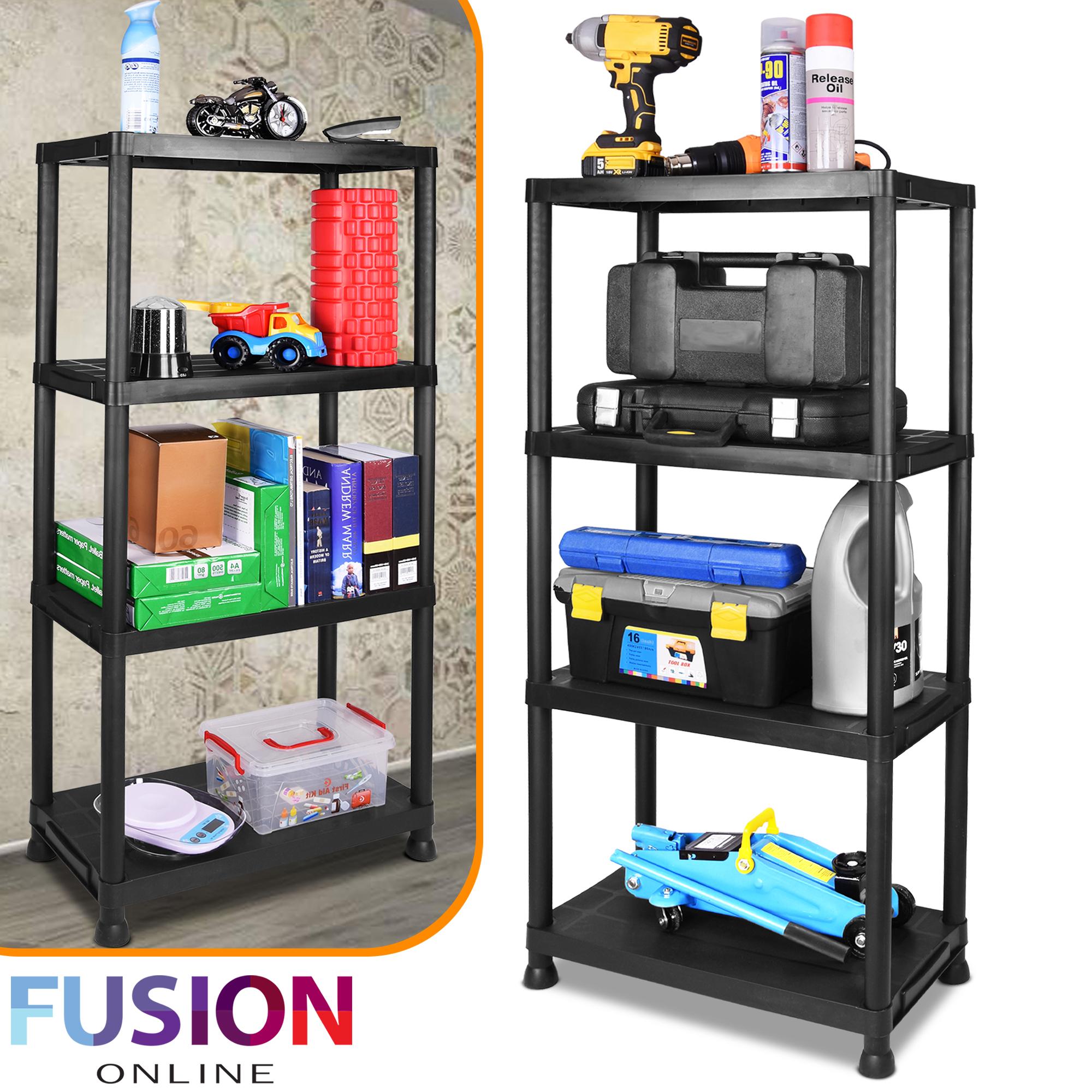 huge discount 8ec50 d1949 Details about Plastic Shelf Shelving Shelves Rack Racking Home Storage  Garage Shed 4 Tier