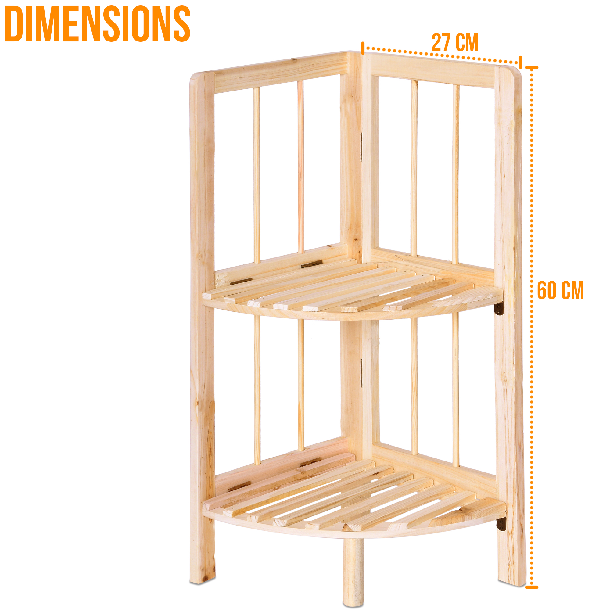 Home Garden Store Evelyn Living 2 Tier Natural Wood Corner